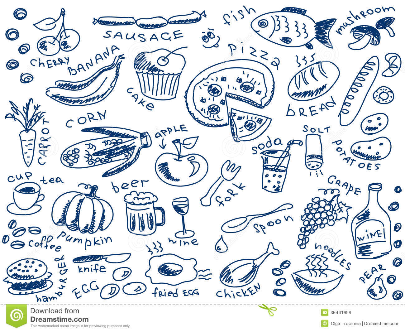 Food Doodles Royalty Free Stock Image - Image: 35441696