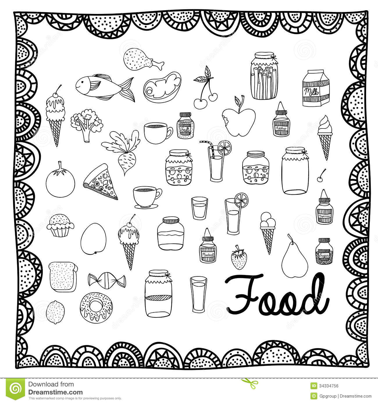 Food Drawing Stock Vector Image Of Fish Line Ornamental
