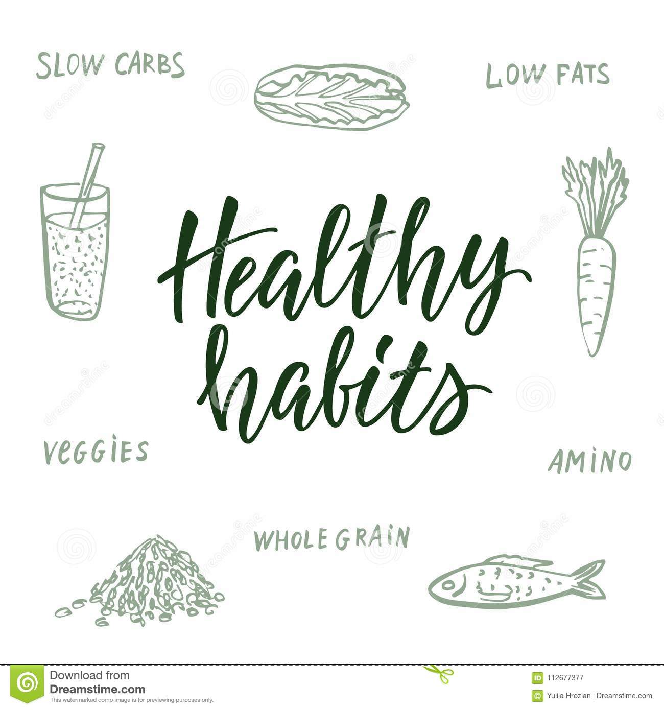 Healthy Habits Calligraphic Quote And Background About Healthy