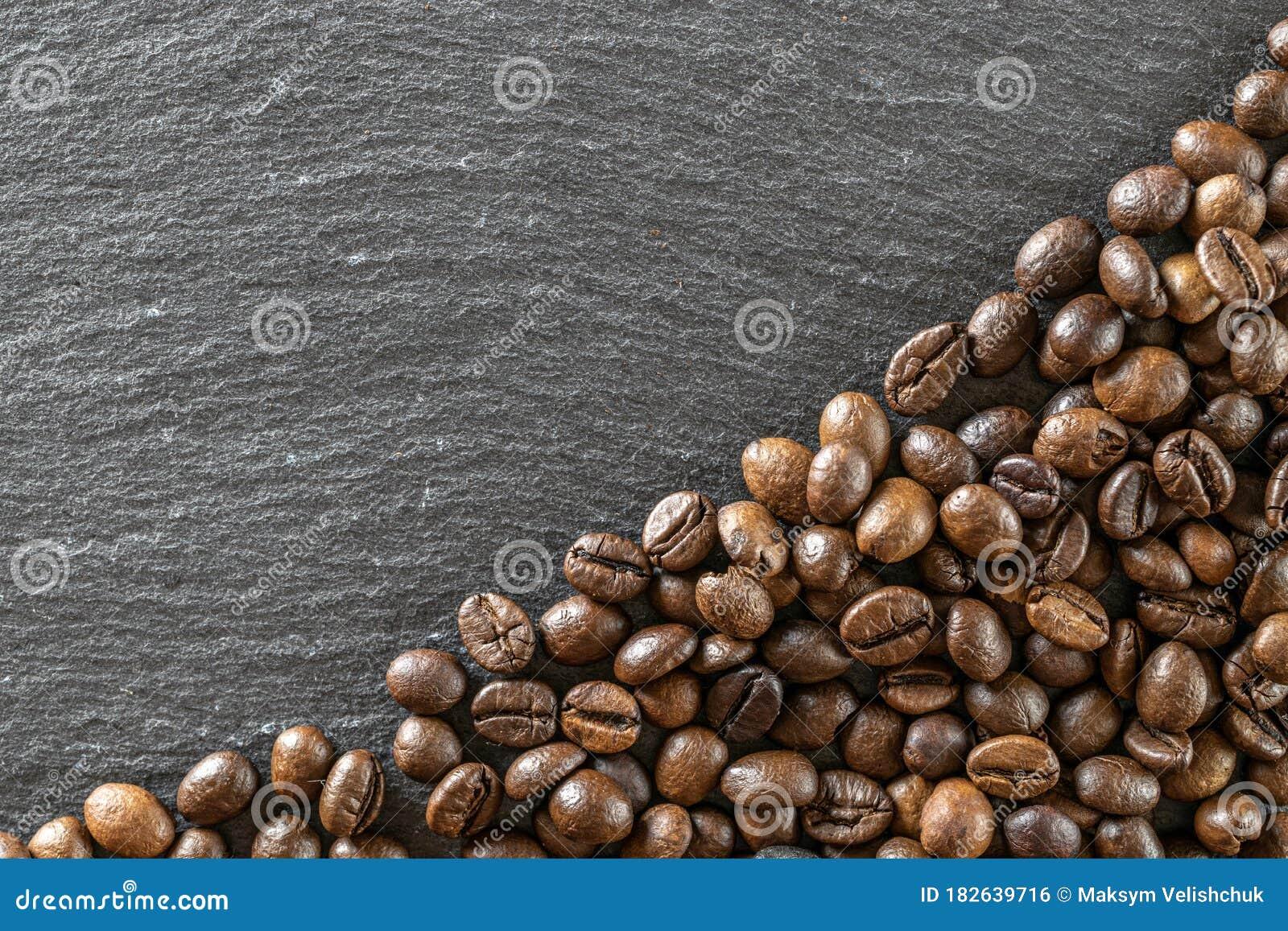 Food, Drink Caffeine Background. Dark Coffee Beans For Cup ...