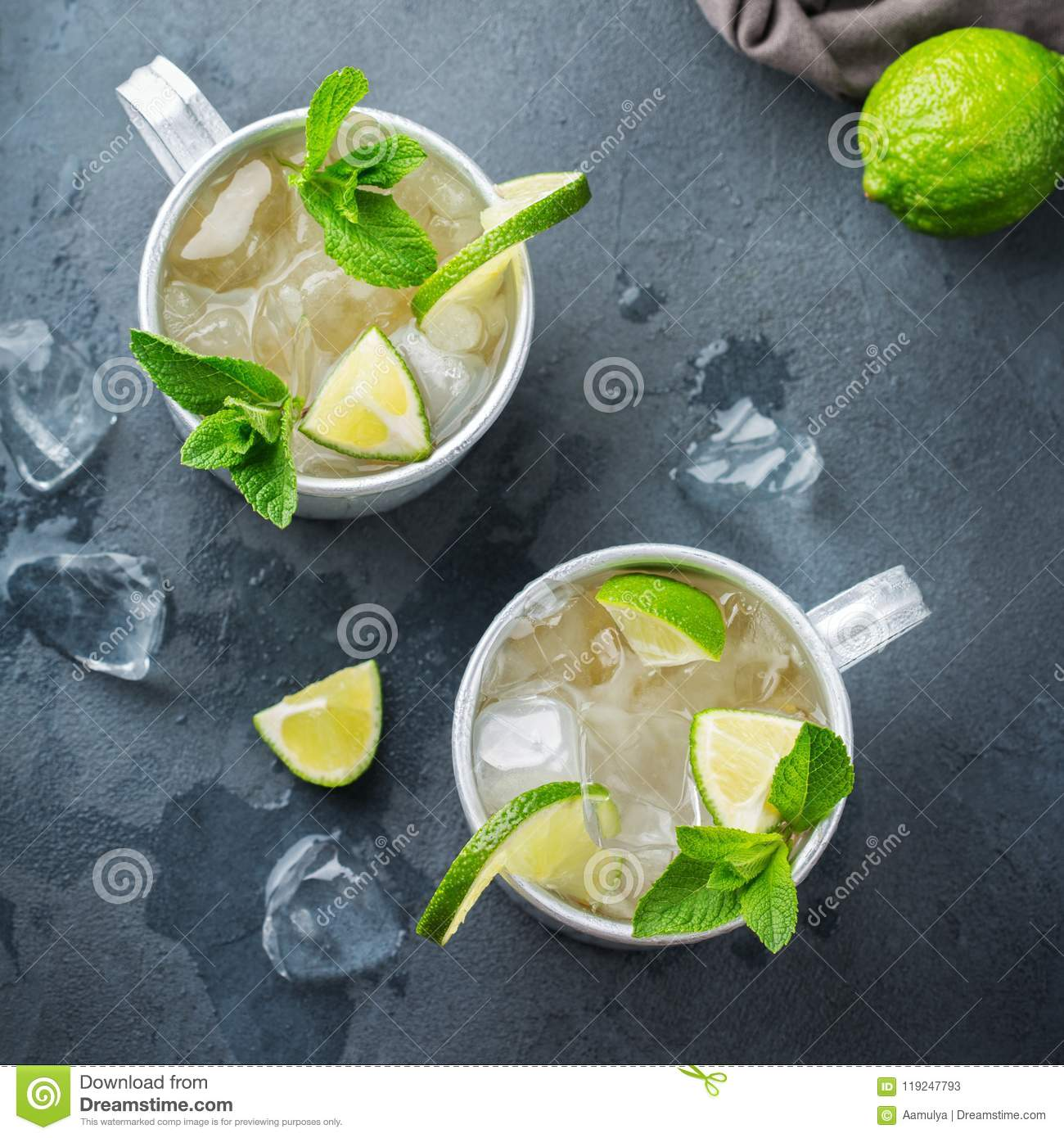Moscow Mule Cocktail With Vodka Ginger Beer Lime And Mint Stock Image Image Of Vodka Metal 119247793