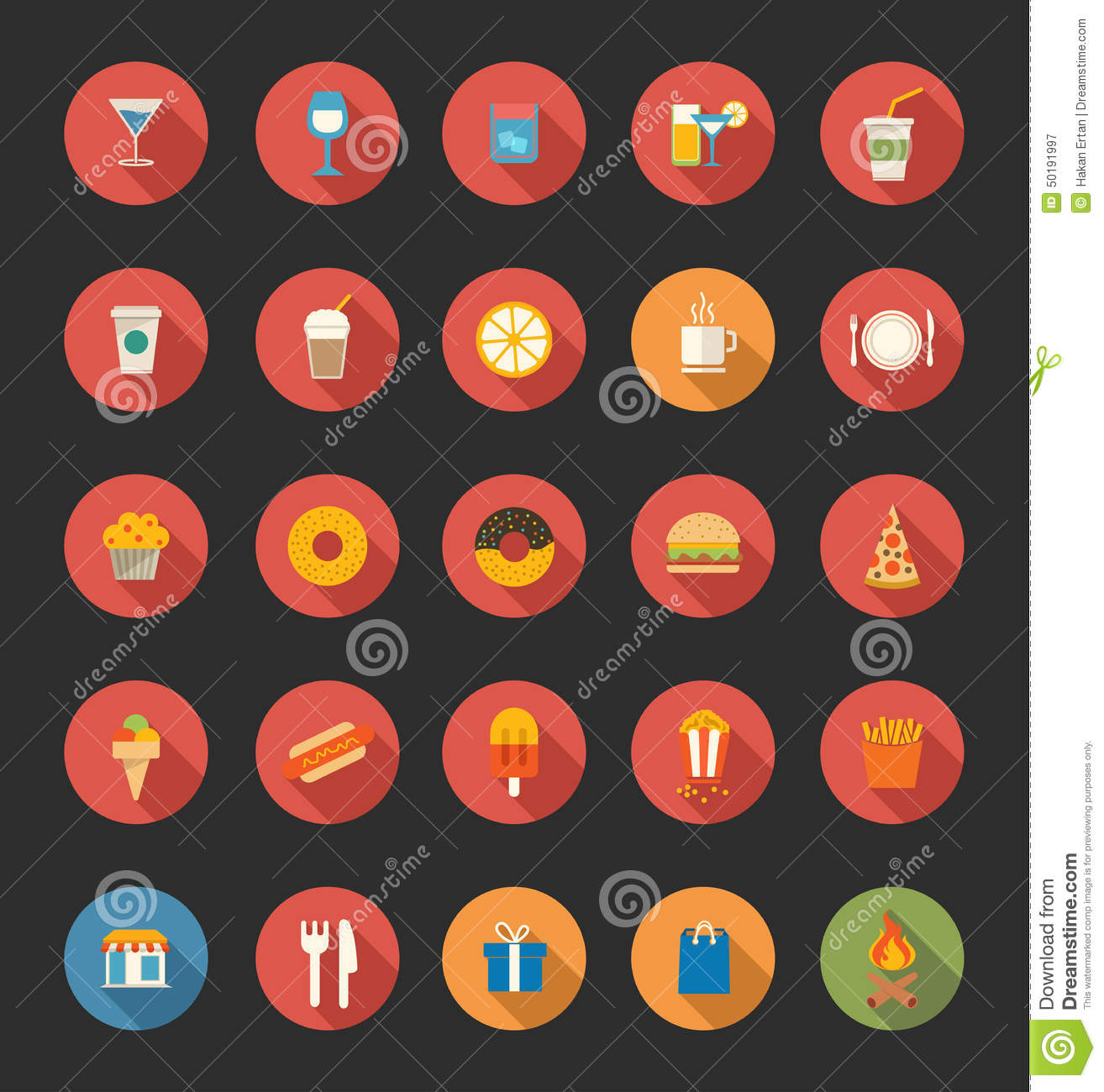 food drink icons flat royalty