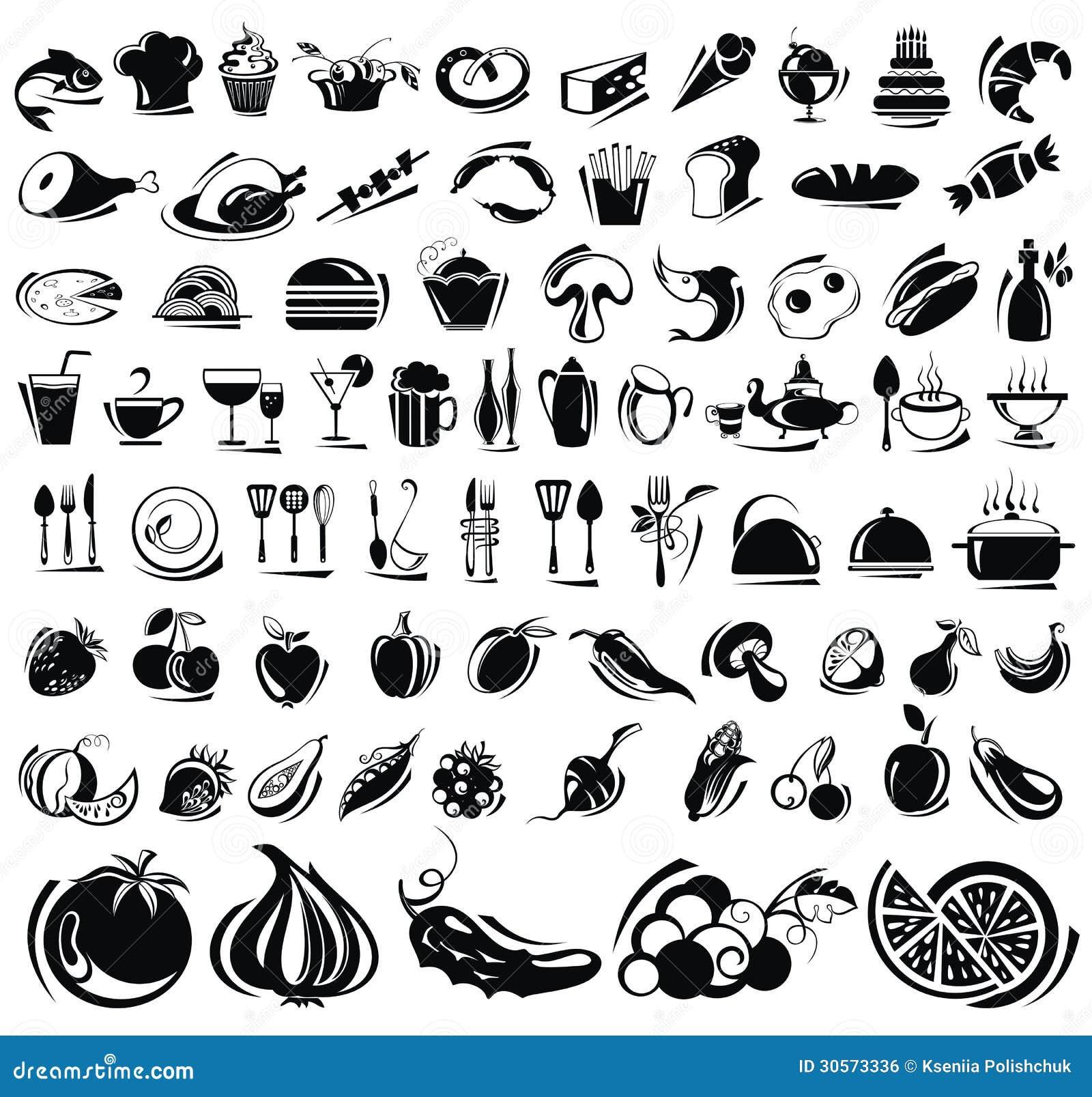 vector icons drink pictogrammen voedsel geplaatste drank bevanda messe icone alimento dell della royalty
