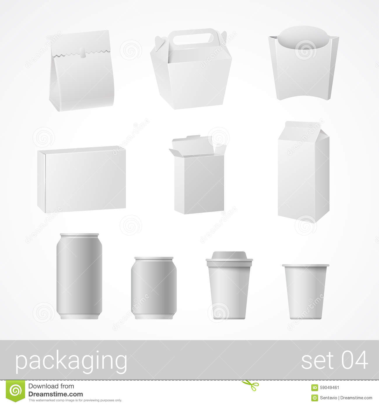 Food and drink plastic, metal and carton cardboard package set