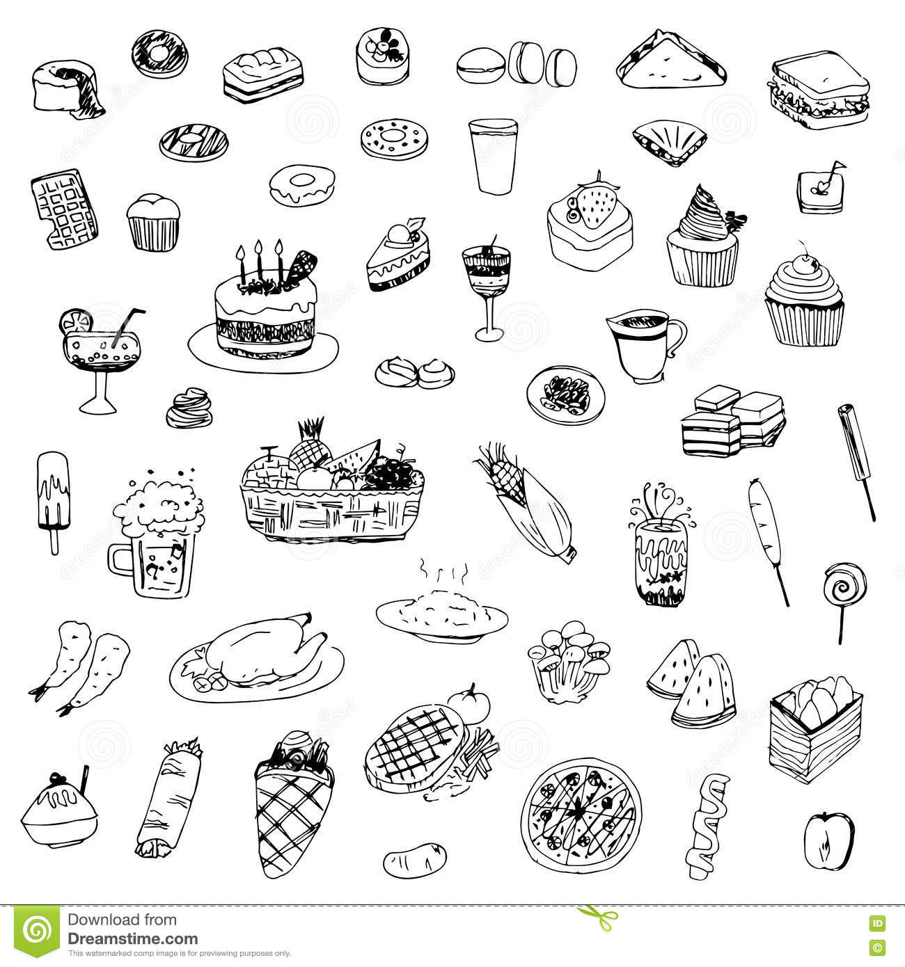 Line Drawing Food : Food and drink sketch drawing vector stock image