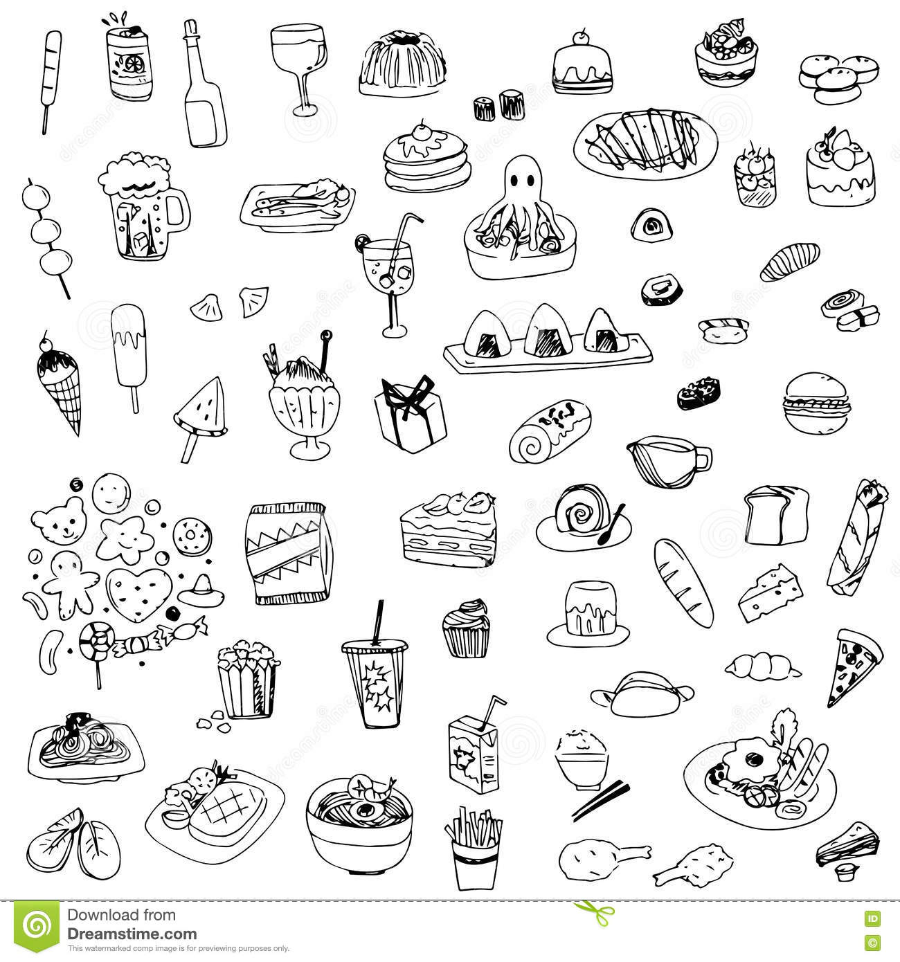 Line Drawing Food : Food and drink sketch drawing vector