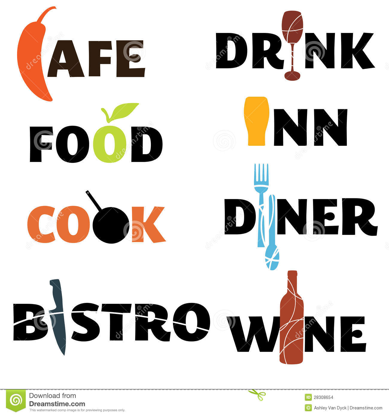 Food And Drink Word Graphics Stock Vector