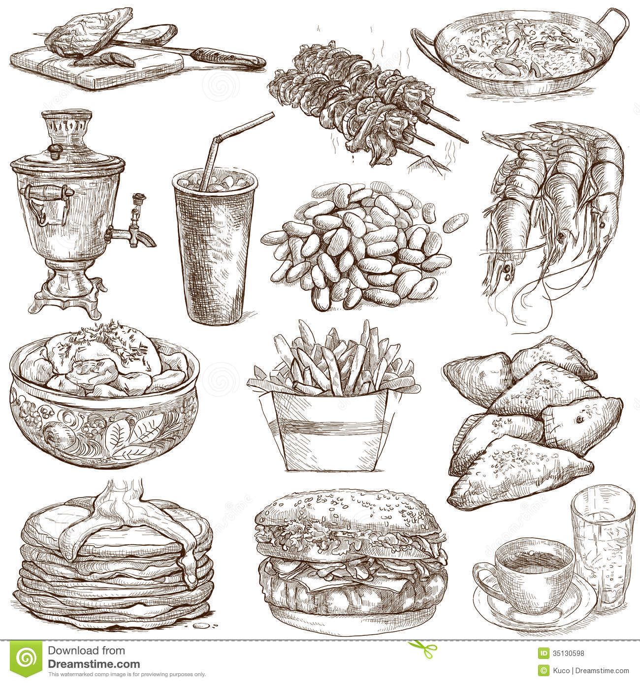 food drinks drawings drawn illustration around illustrations hand sized vector animals preview
