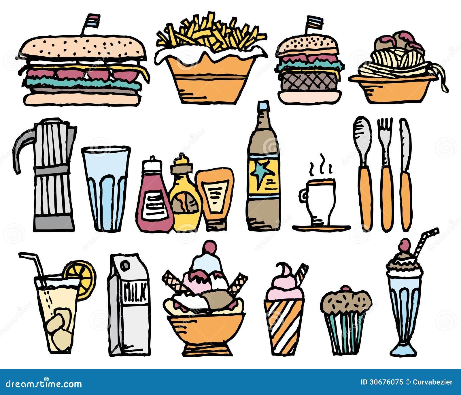 Food And Drinks / Color Restaurant Stuff Stock Illustration ...