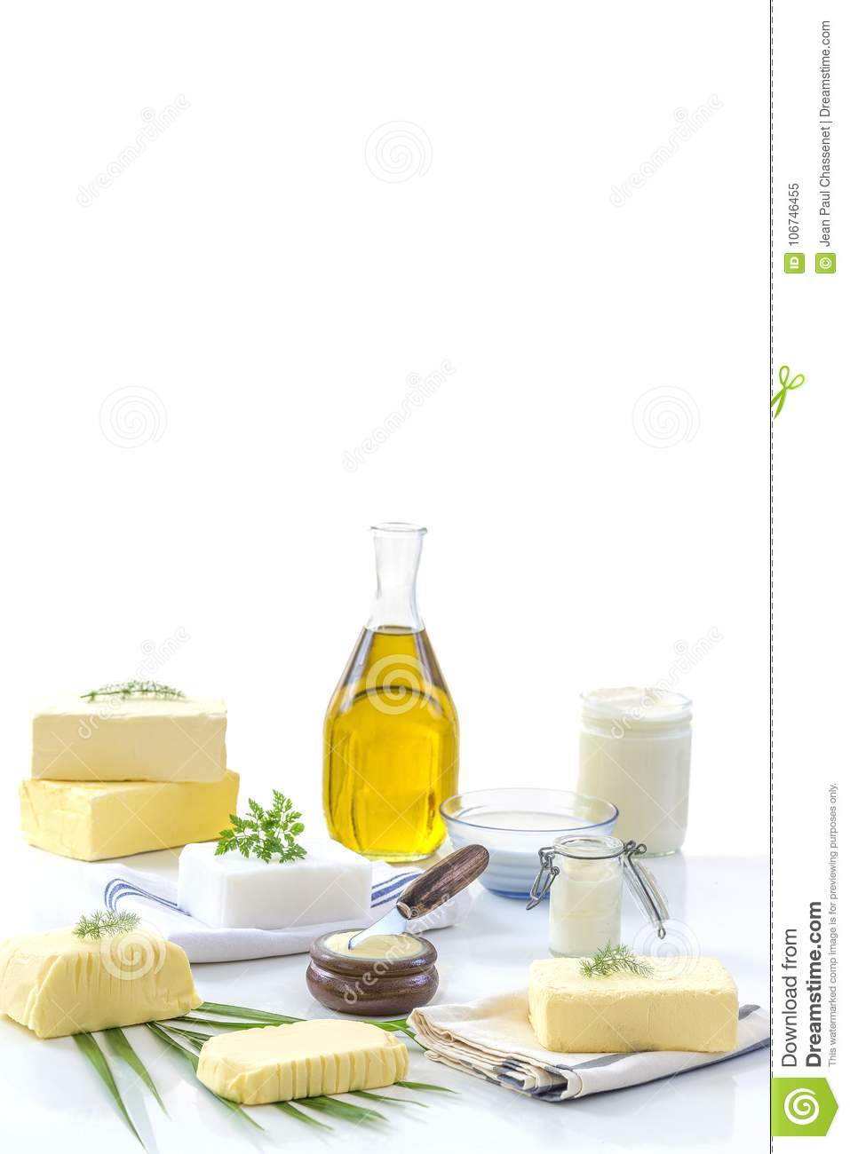 Food Fats and oil : set of dairy product and oil and animal fats on a white background