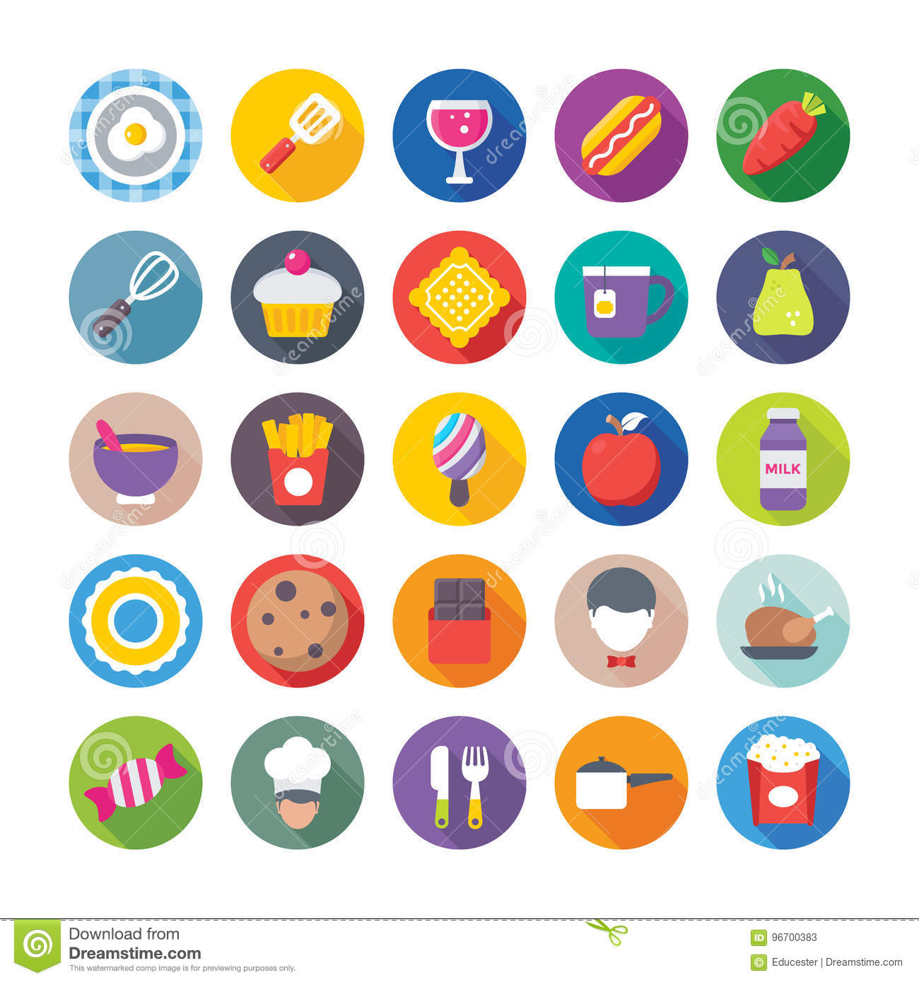 food flat vector icons 6 stock illustration illustration of cookie