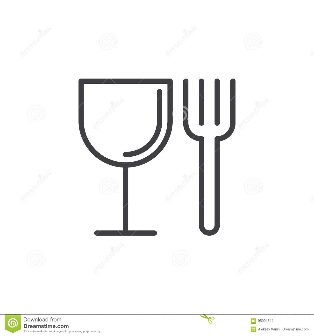 Food Fork And Glass Line Icon Outline Vector Sign Linear Style