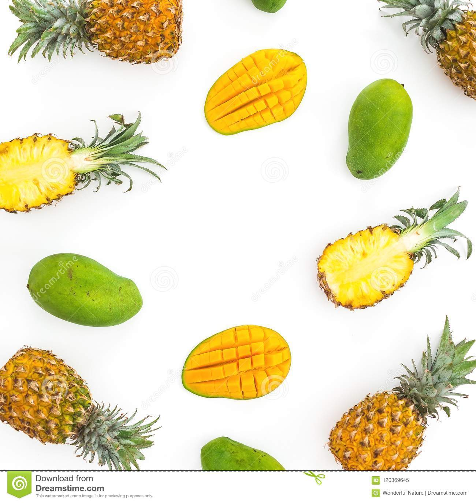 Food Frame Of Pineapple And Mango Fruits On White Background. Flat ...