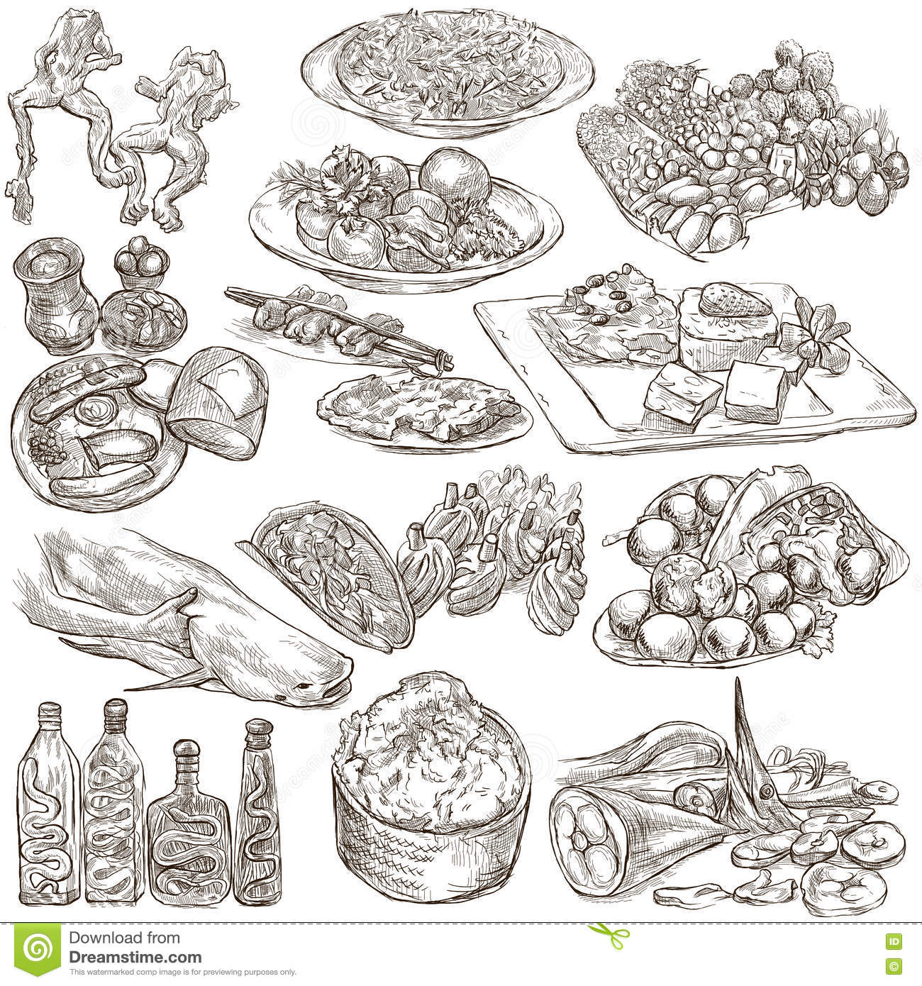 Line Art Food : Food freehands hand drawn collection line art stock