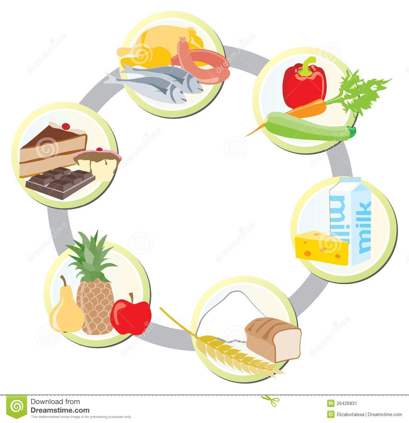 Food Pyramid For Kids Clipart The food in groups sto...