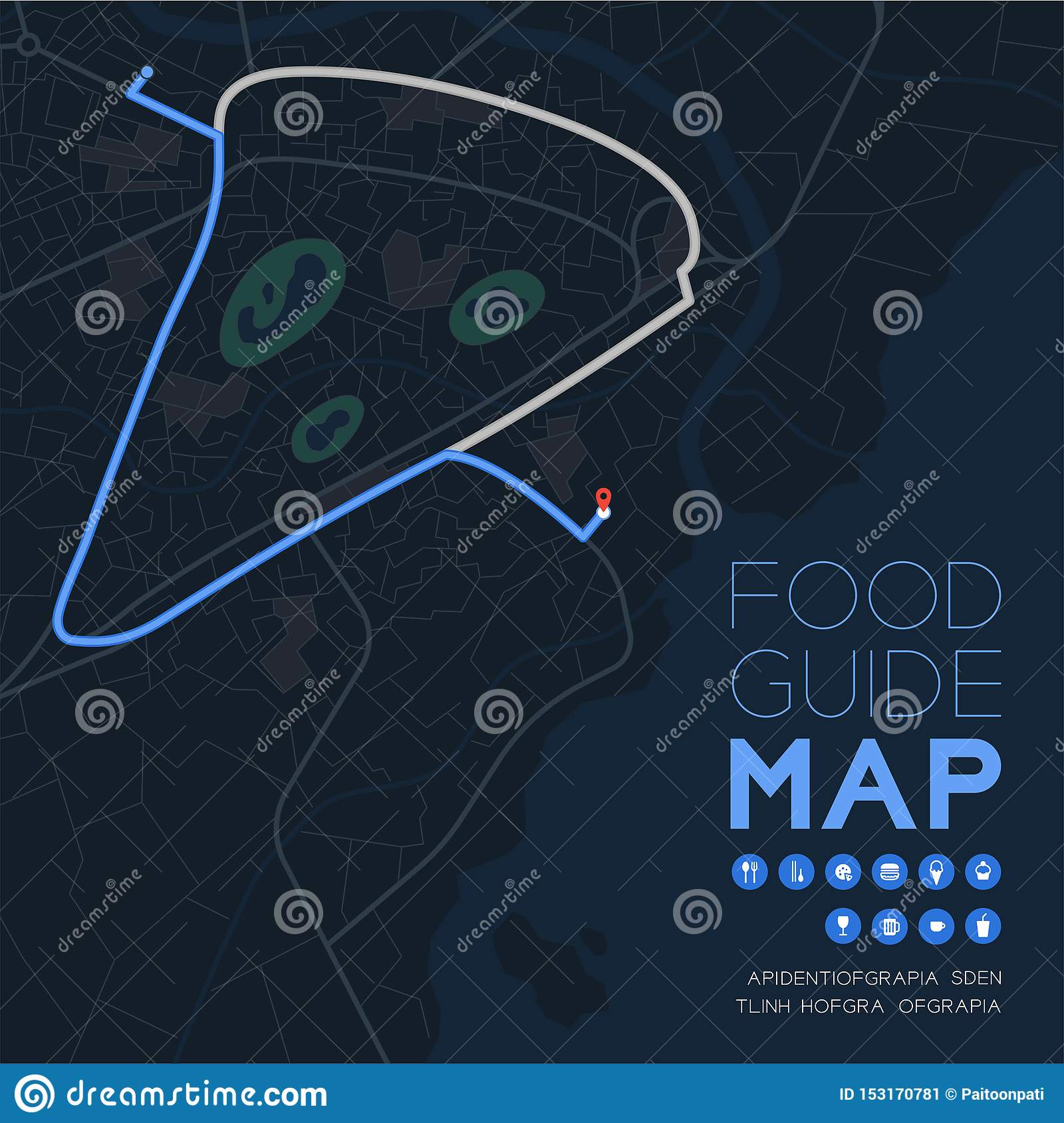 Food guide direction map travel with icon concept, Road pizza shape design in nighttime mode illustration isolated on grey