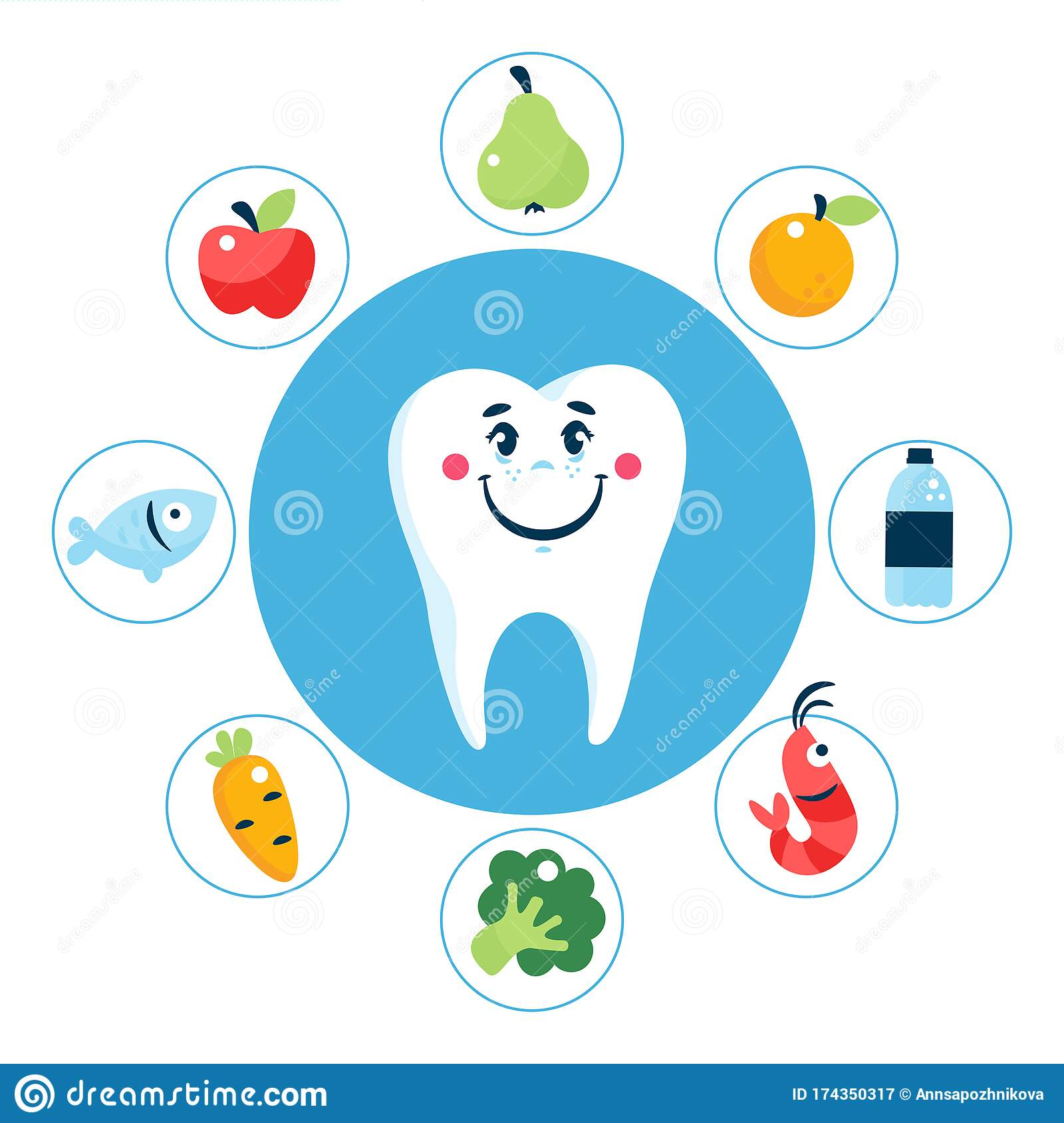 Food For Healthy Teeth Concept With White Tooth Stock Vector Illustration Of Dentist Food 174350317