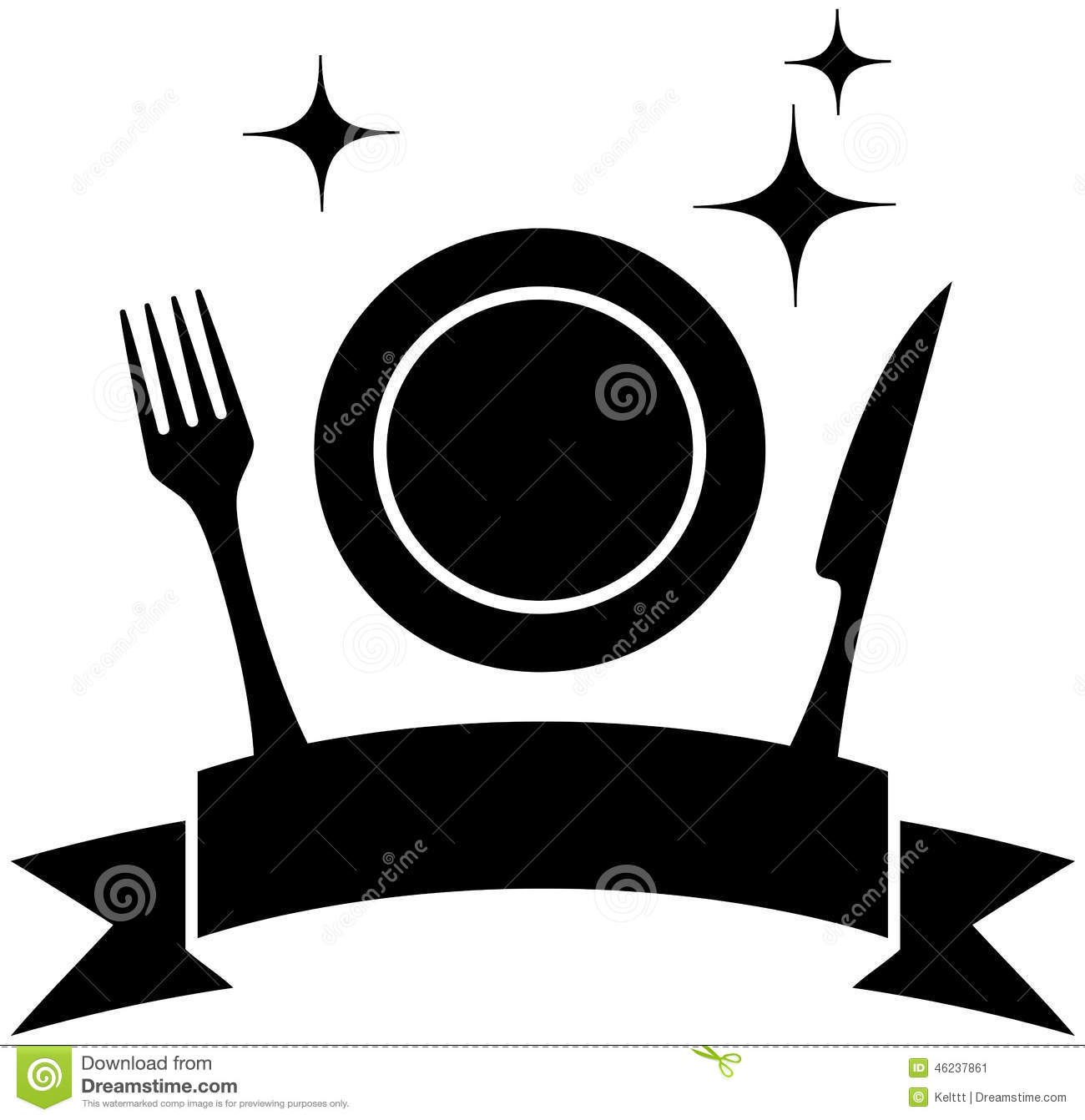 Food Icon With Plate And Kitchen Utensil Stock Vector