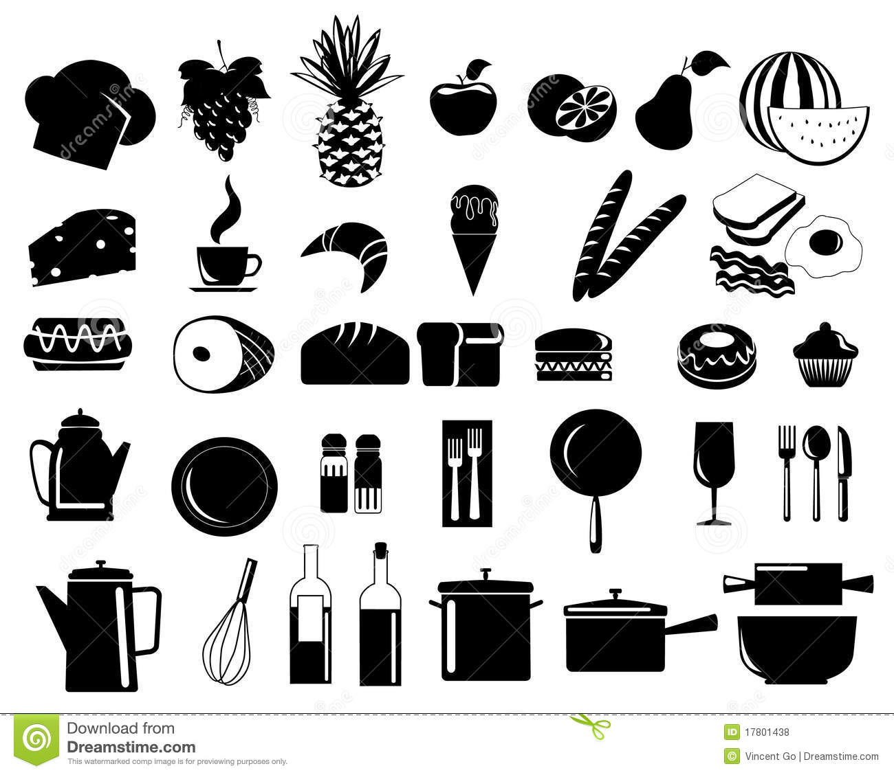Food Icons 6 Royalty Free Stock Photos - Image: 17801438