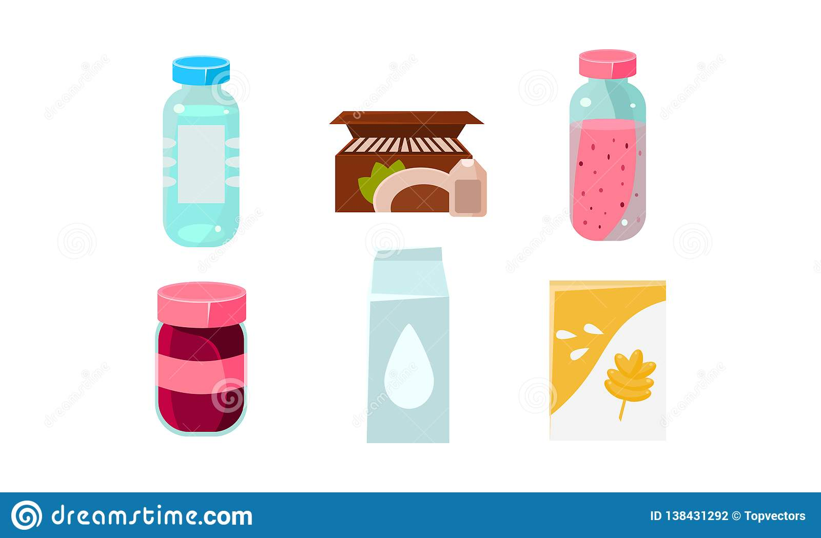 Food icons set, grocery products in plastic and cardboard packaging vector Illustration