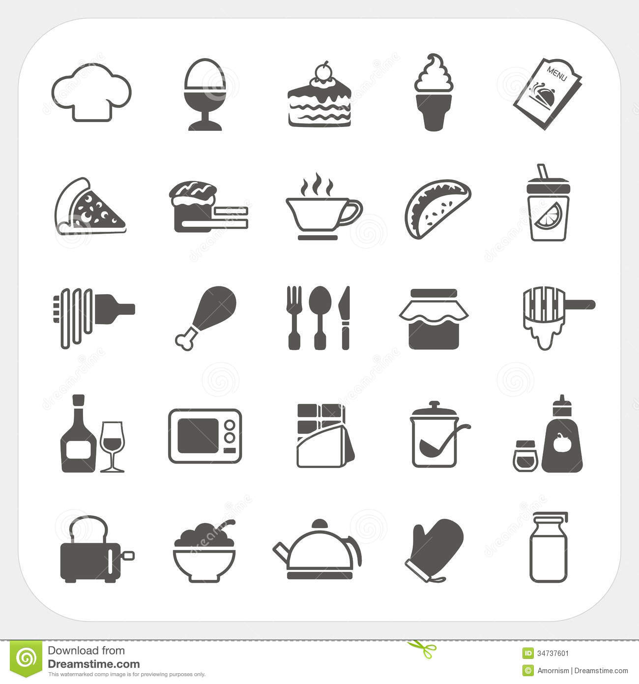 Food Icons Set On White Background Stock Vector
