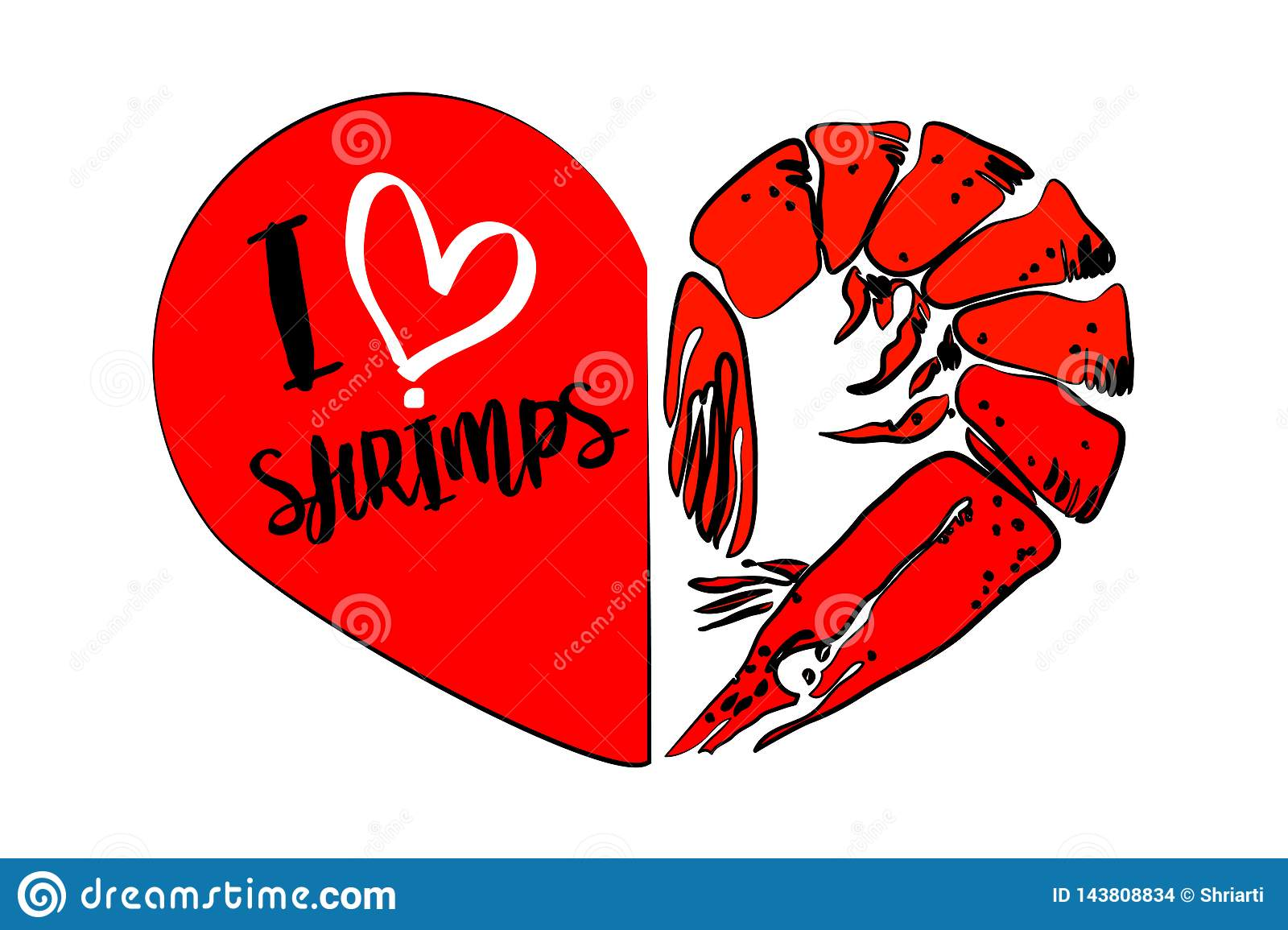 Cartoon red shrimp, second part of heart isolated on white background.
