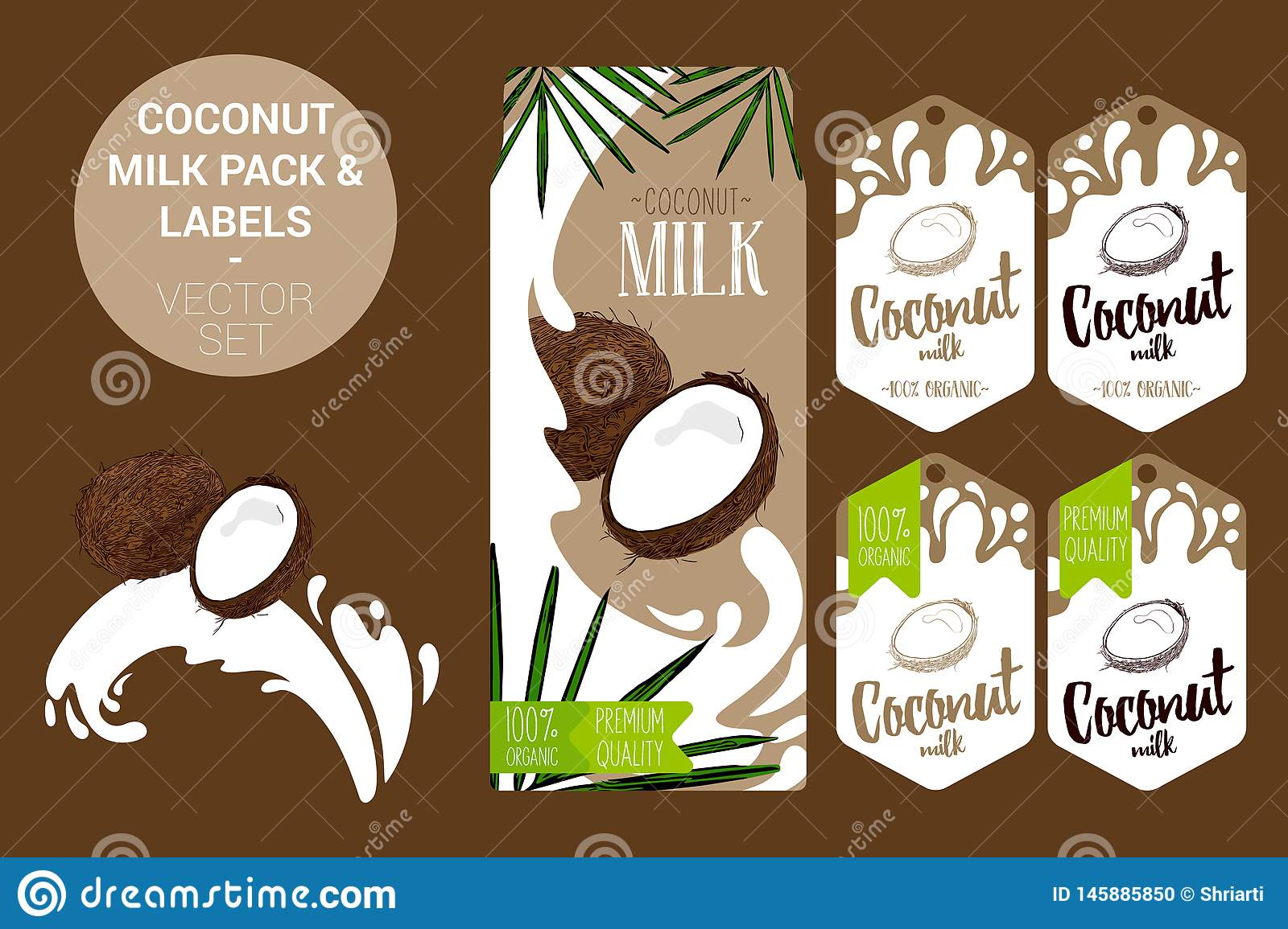 coconut milk pack with palm leaves, organic labels tags. Colorful tropical stickers. exotic fruit badges