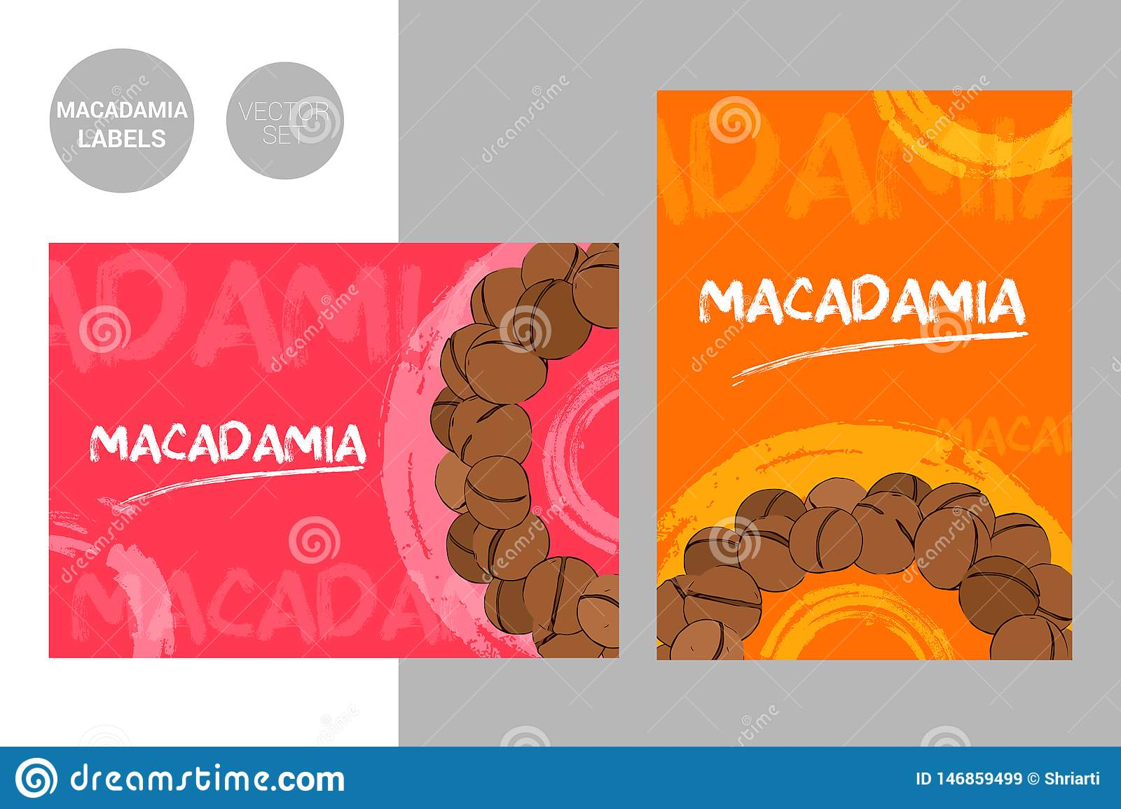 Creative macadamia nuts labels in red and orange colors with hand drawn typography and brush stroke elements.