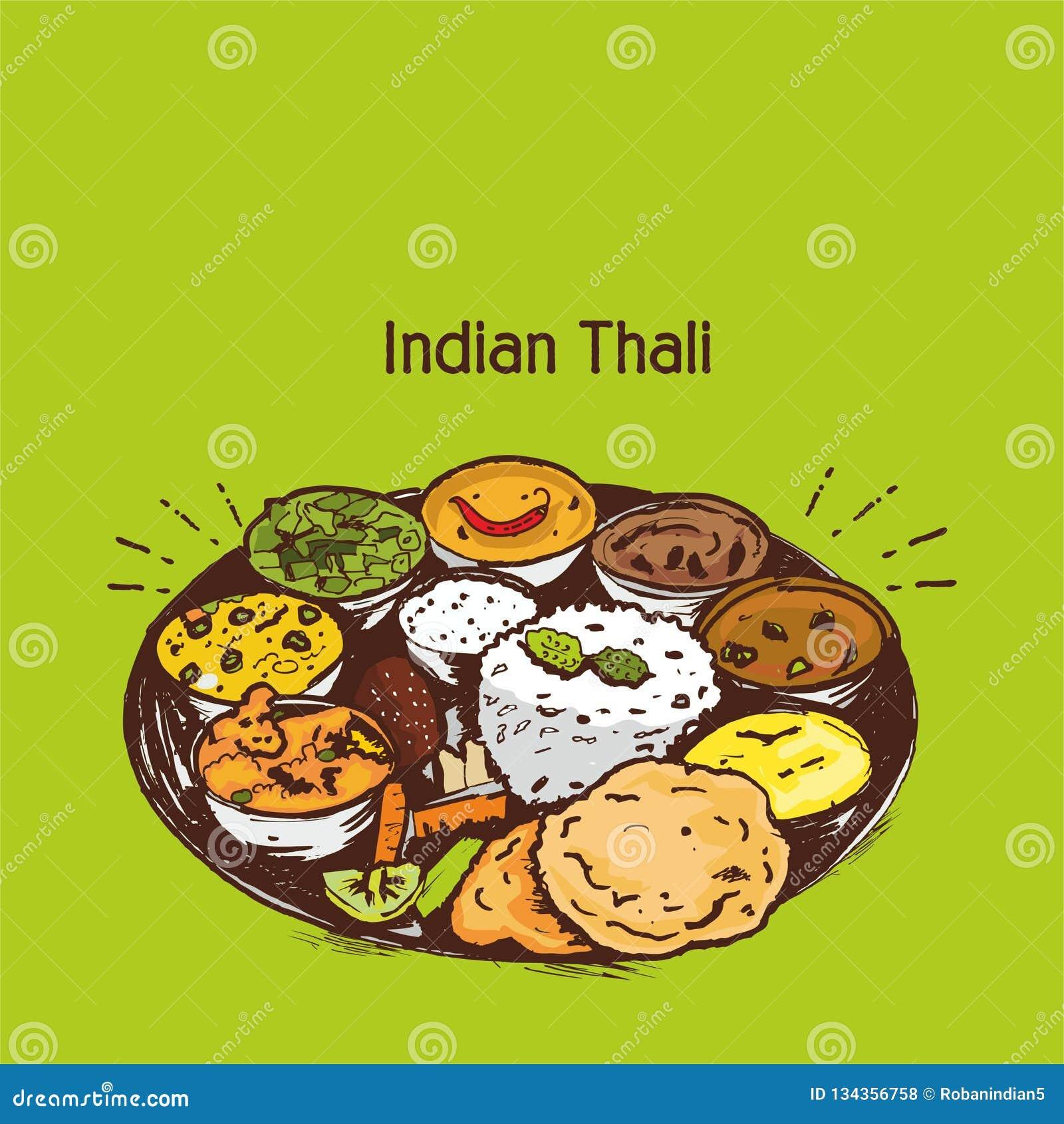 Indian Thali Vector Illustration Or Clip Art Stock Vector ...