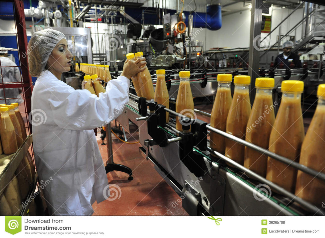 Assembly Line Worker : Food industry editorial stock photo image of clothes