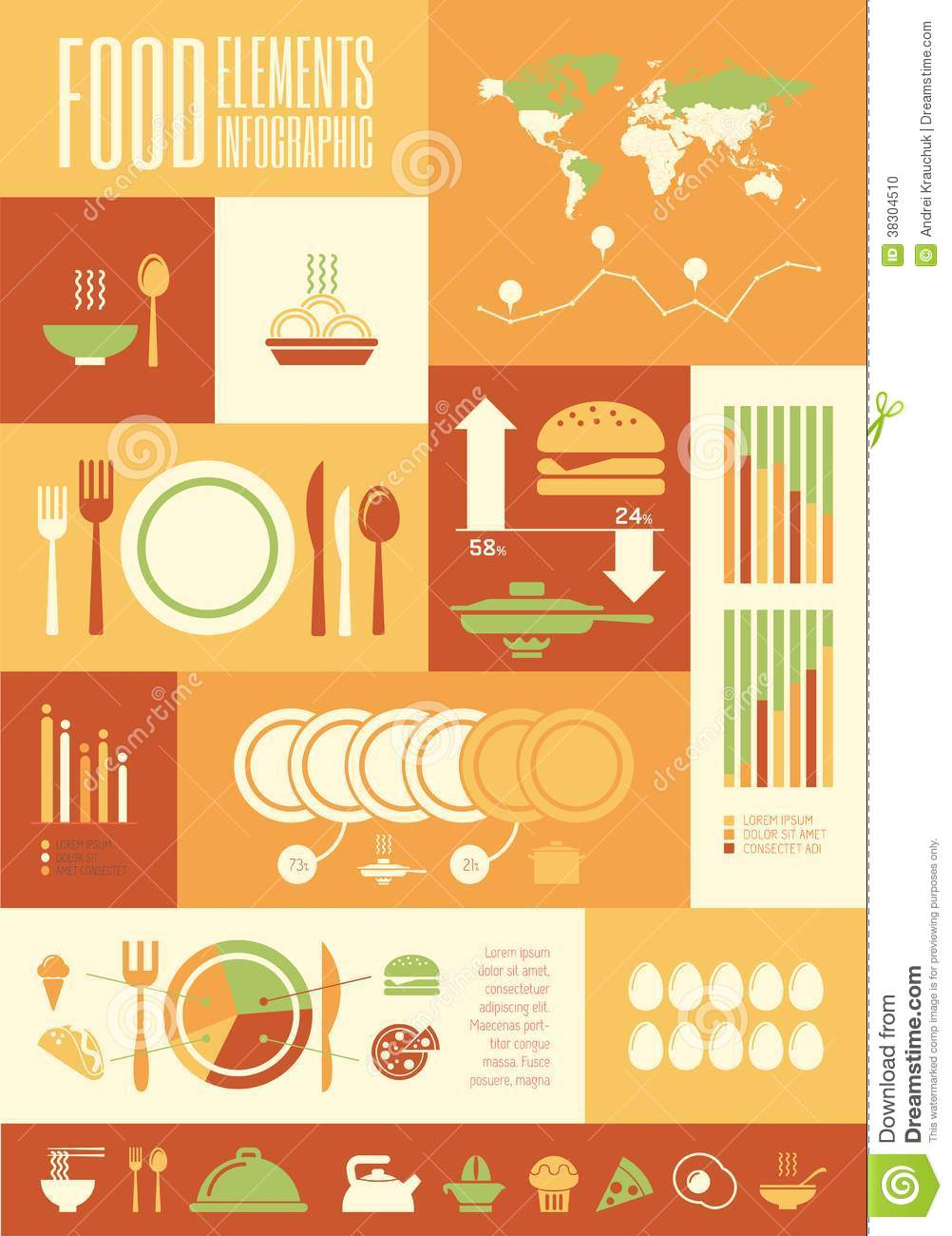 Food Infographic Template Stock Photo Image Of Flattened