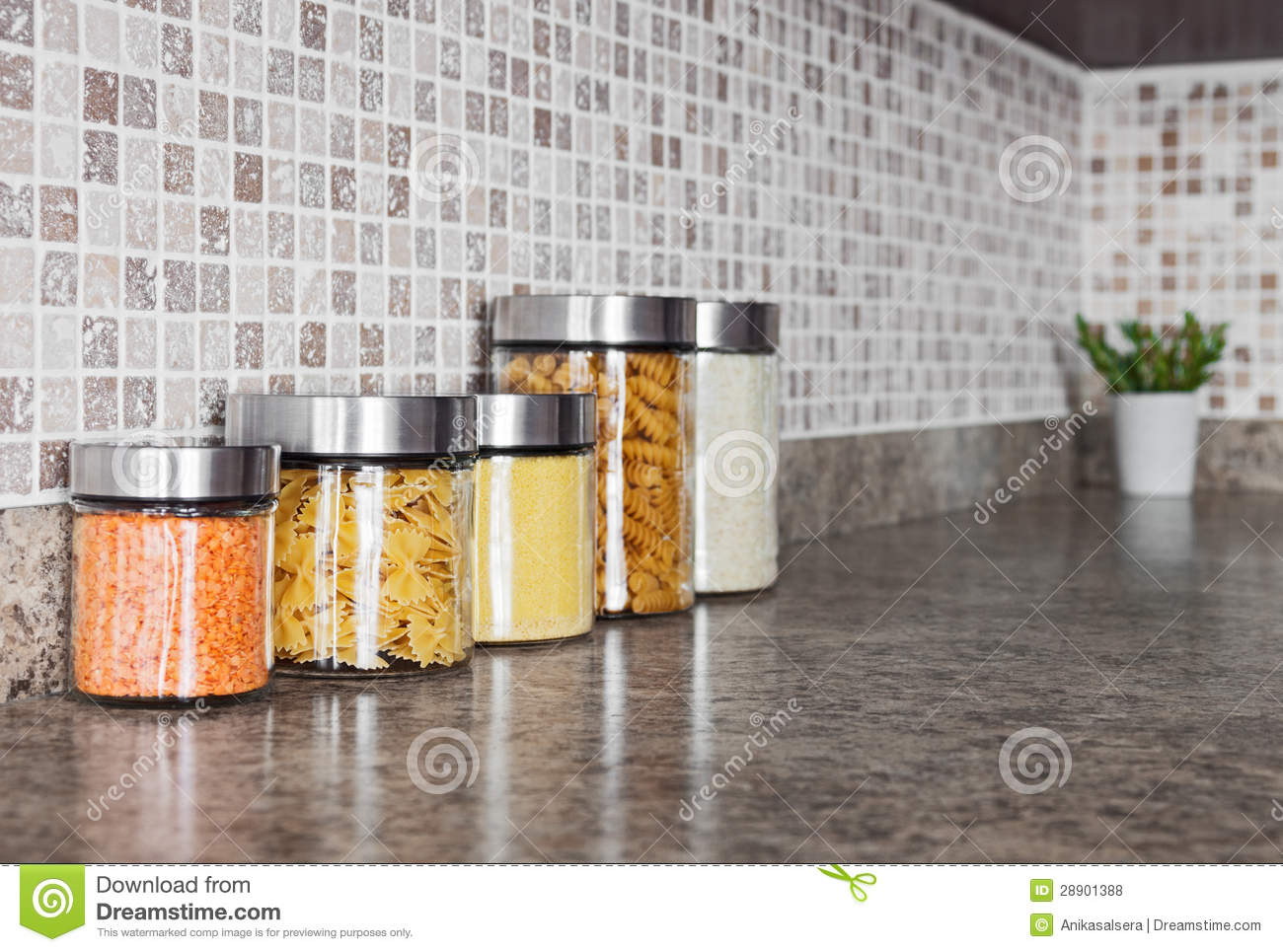 Food ingredients in glass jars