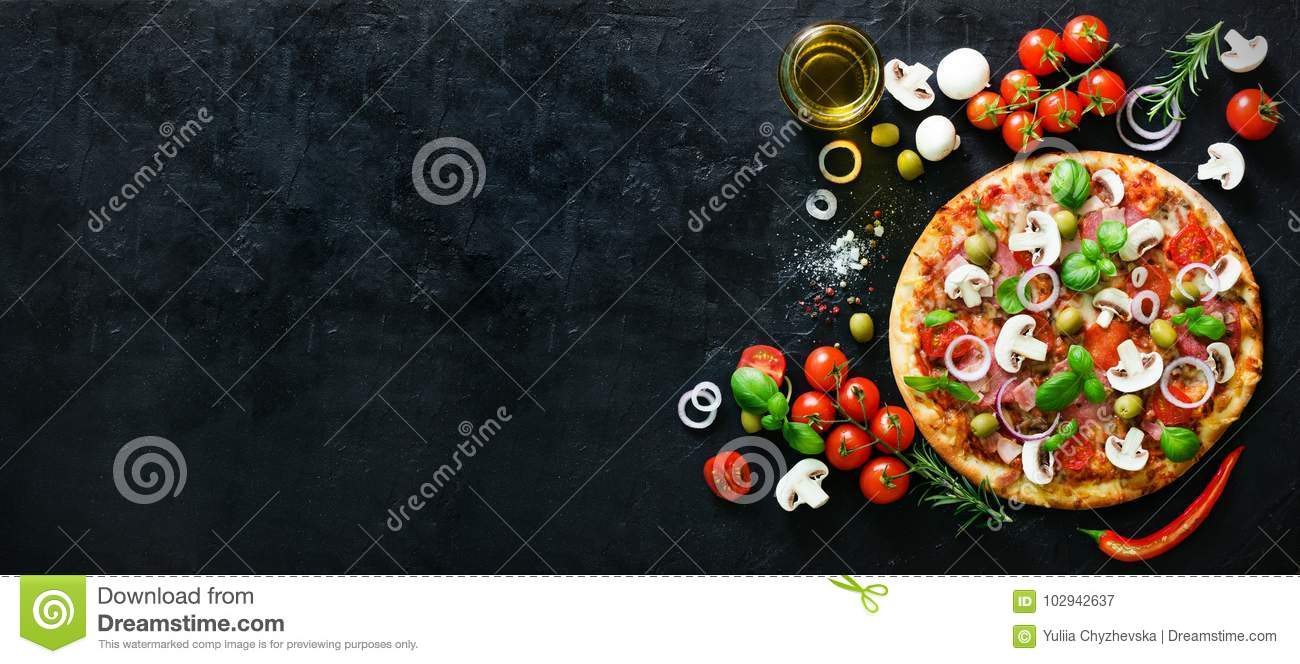 Food ingredients and spices for cooking mushrooms, tomatoes, cheese, onion, oil, pepper, salt, basil, olive and
