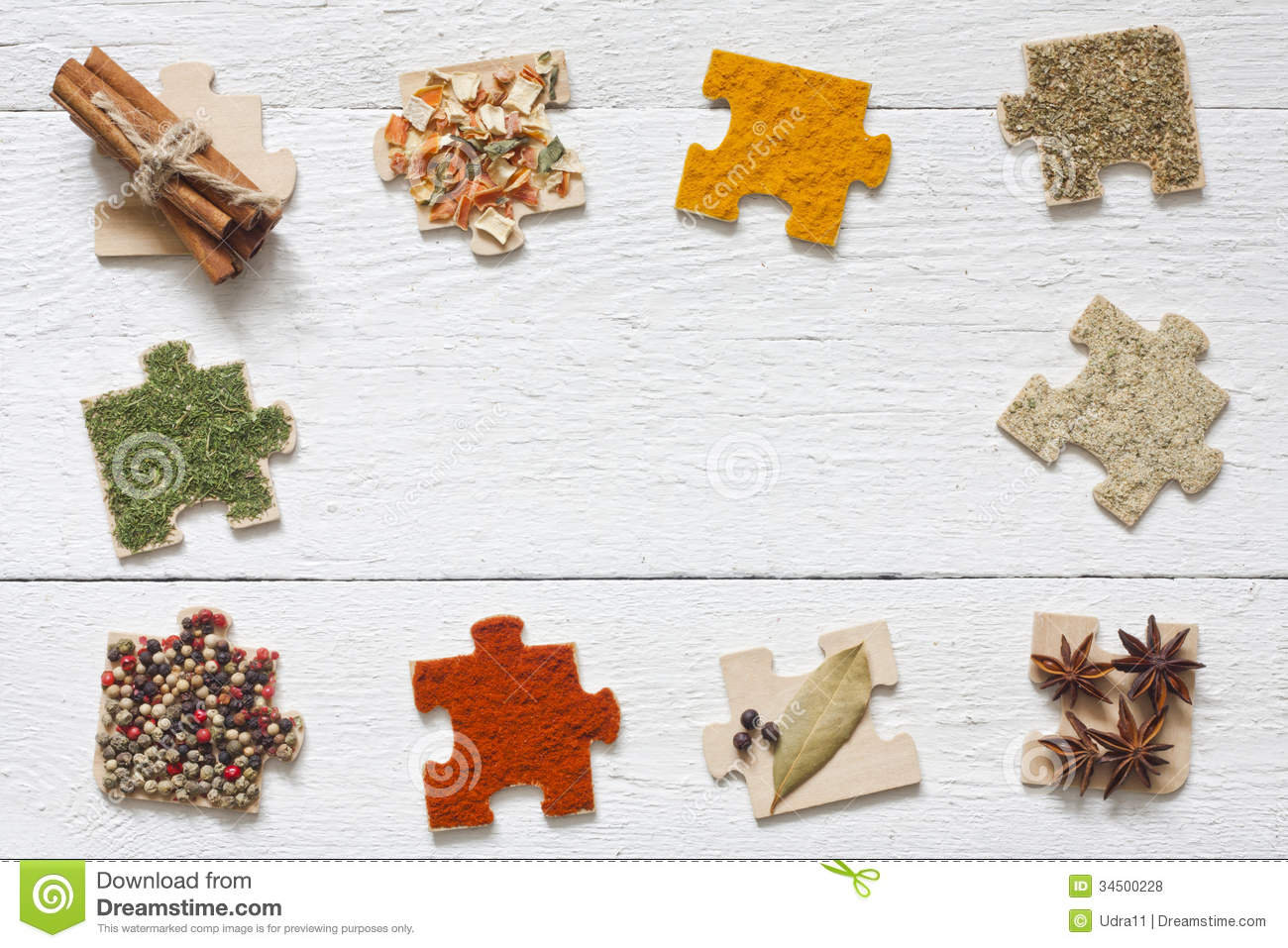 Food ingredients spices and puzzle diet concept