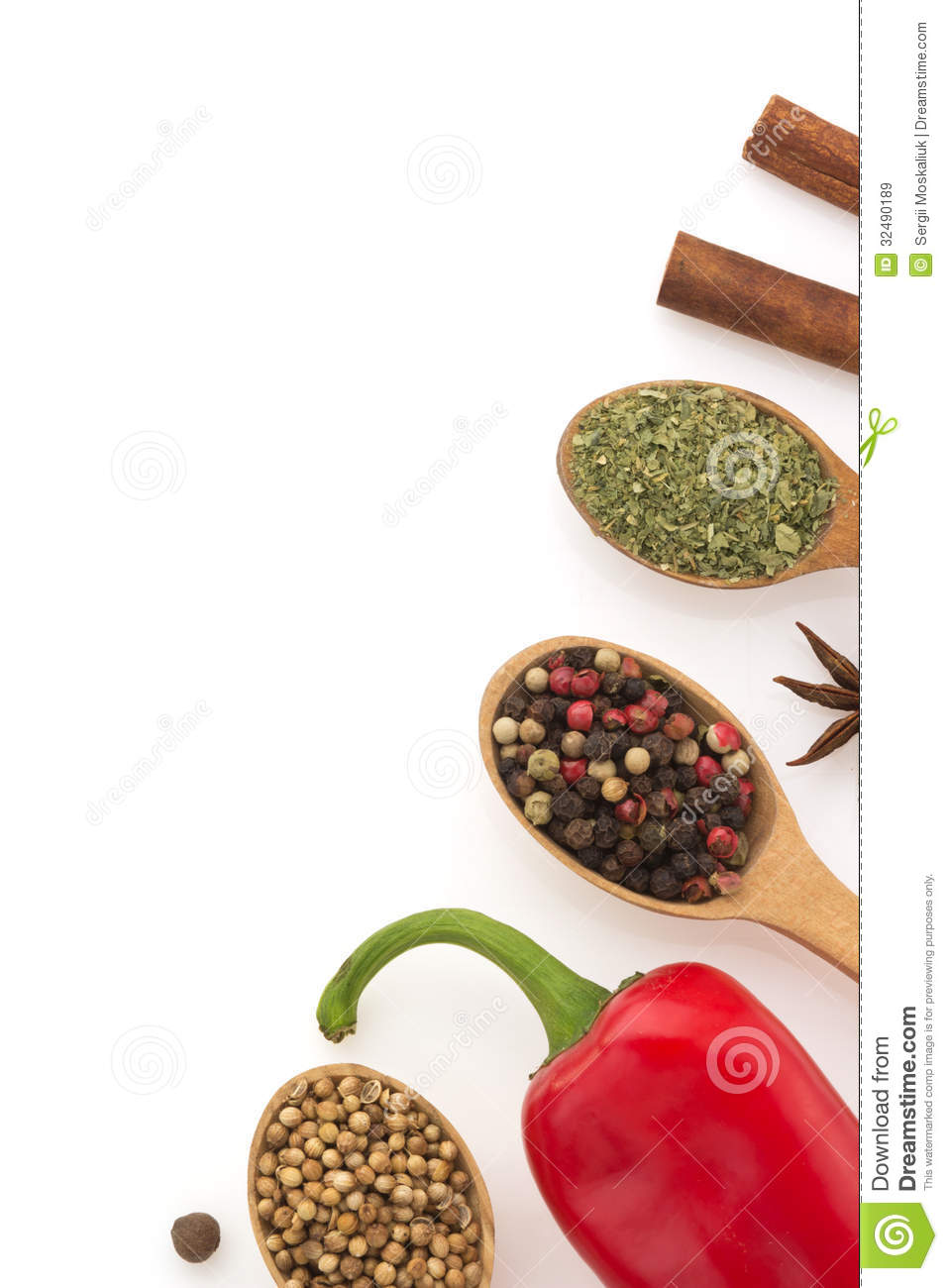 Food ingredients and spices on white background stock for Cuisine 5 ingredients