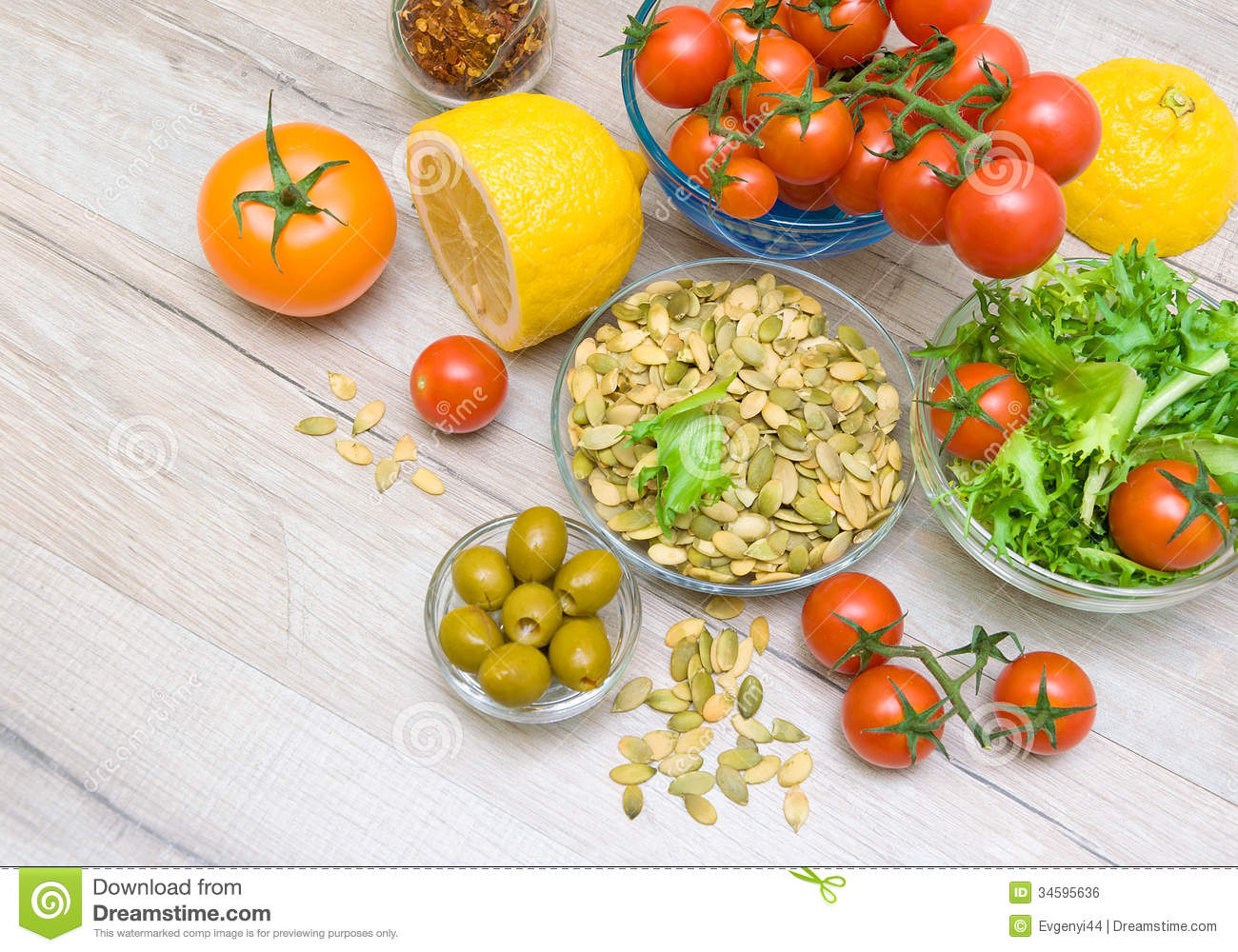 Wooden Food Table ~ Food ingredients on a wooden table stock photo image