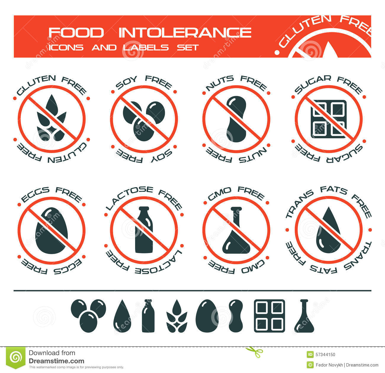 Food intolerance icons and labels set stock vector illustration of food intolerance icons and labels set biocorpaavc Gallery