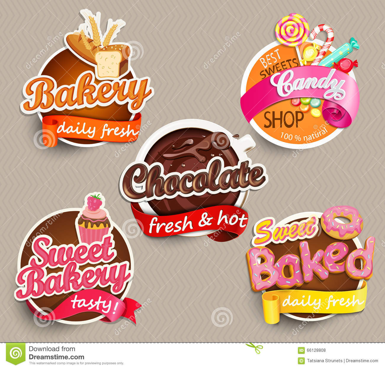 Food label or sticker bakery chocolate sweet baked candysweet bakery design template vector illustration