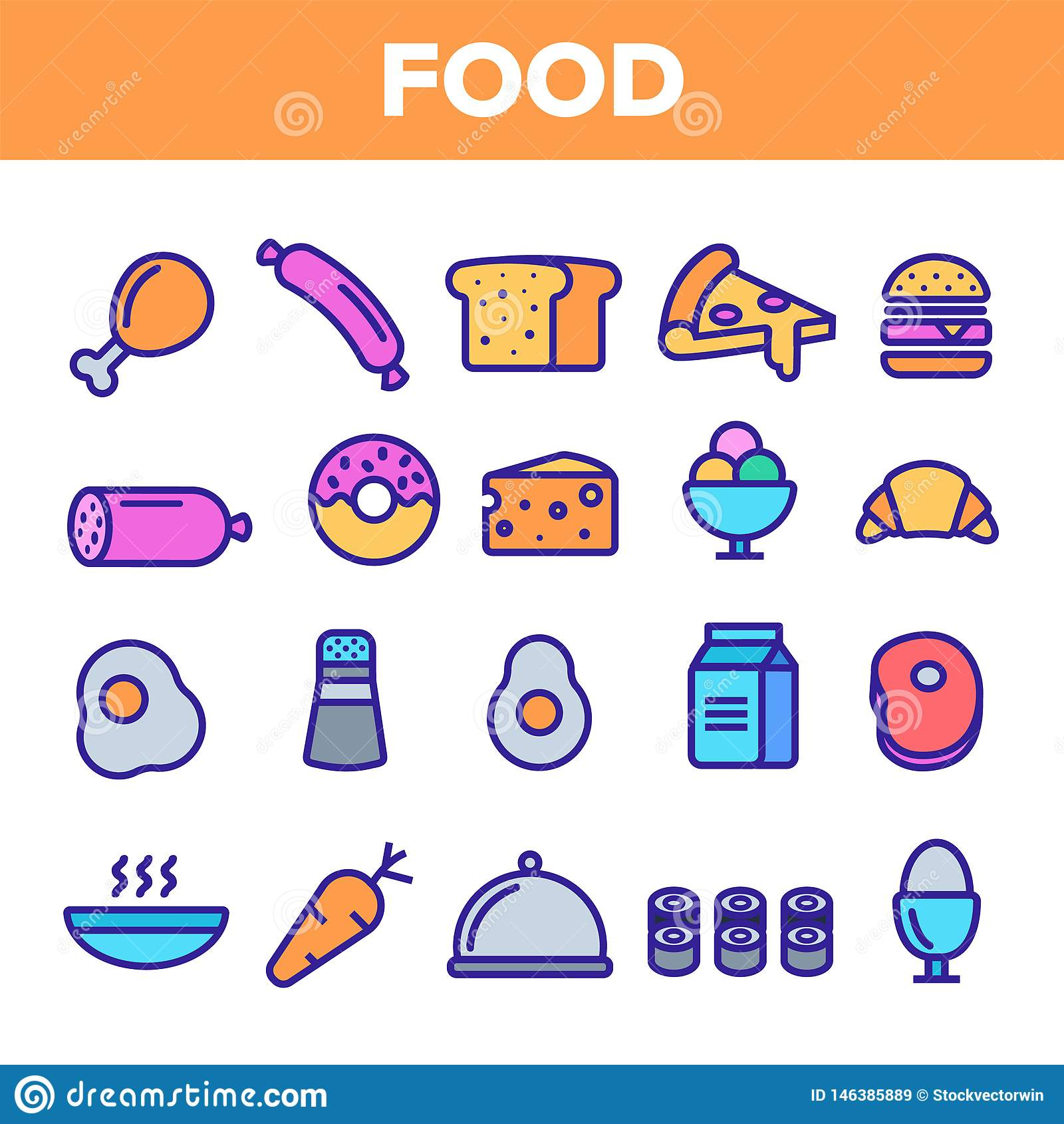 Food Line Icon Set Vector. Home Kitchen Breakfast Food Icons. Menu Pictogram. Fesh Eating Element. Thin Outline Web
