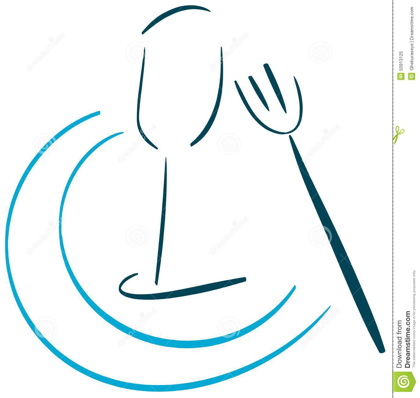 Food Logo With Glass And Fork Isolated Stock Vector