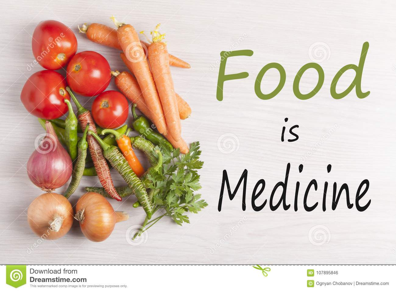 Food is Medicine text with assorted vegetables