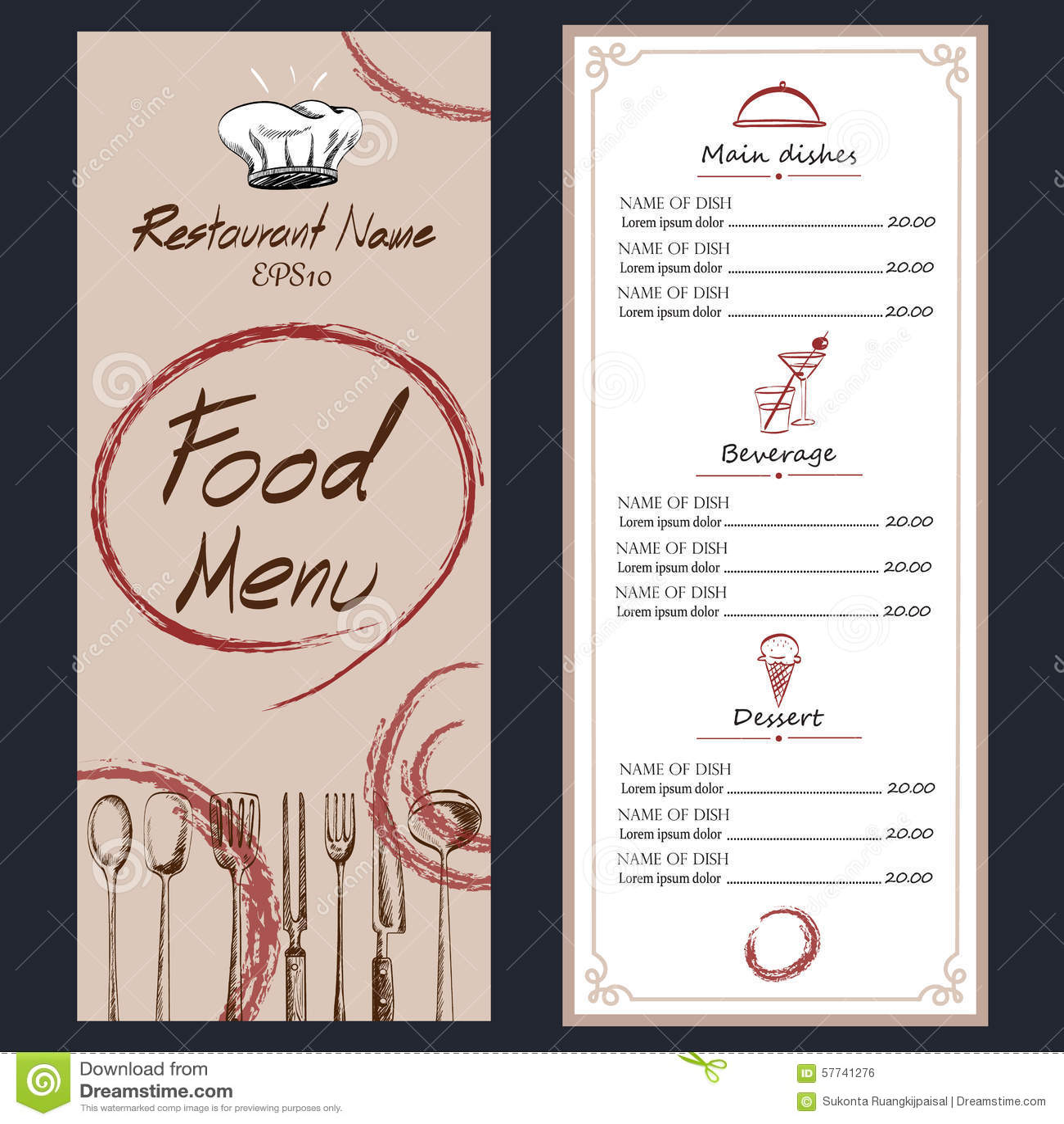 menu brochure template - food menu cafe brochure drawing template stock vector