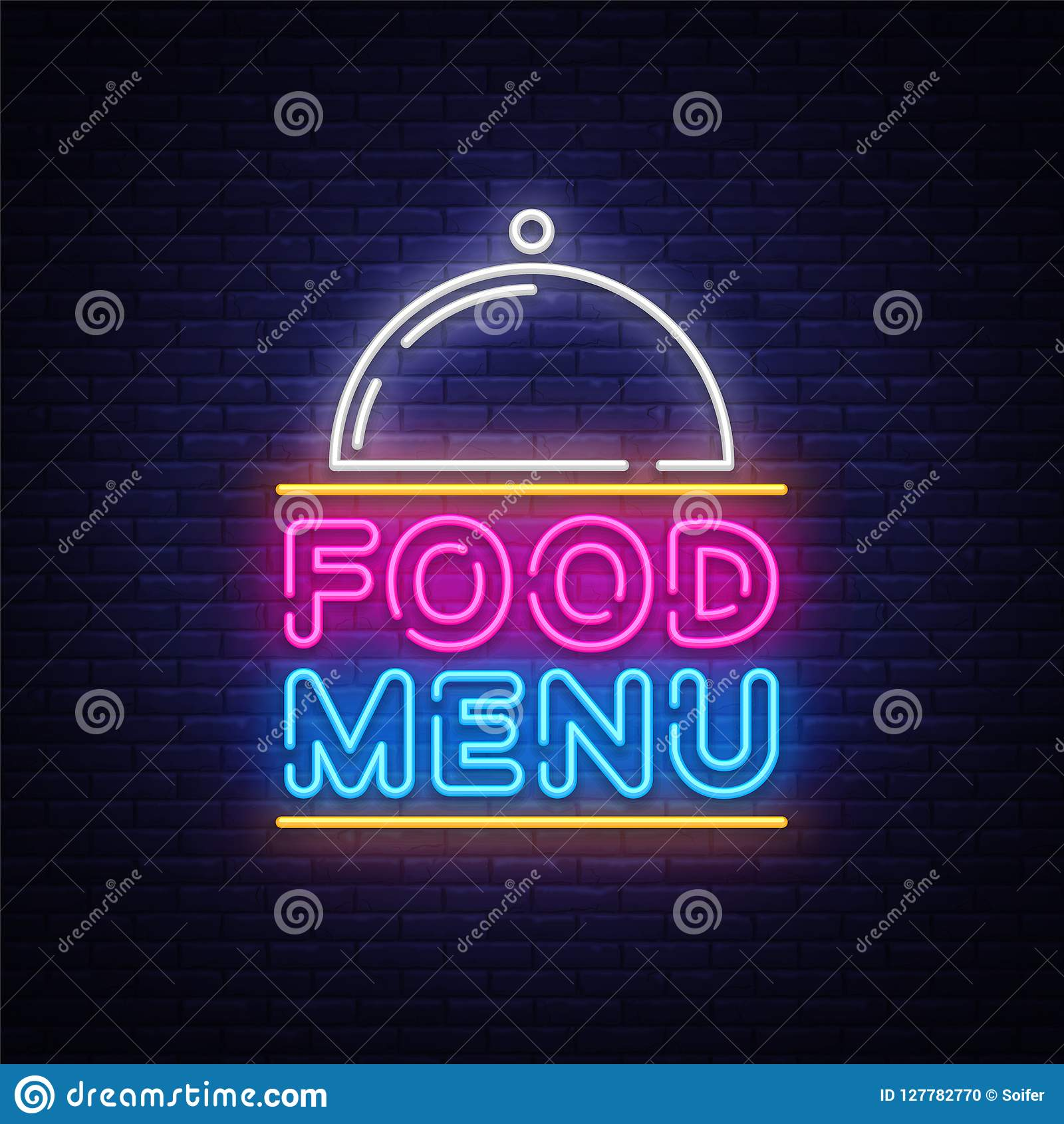 Food Menu Neon Sign Vector. Restaurant Menu Neon Sign, Design Template,  Modern Trend
