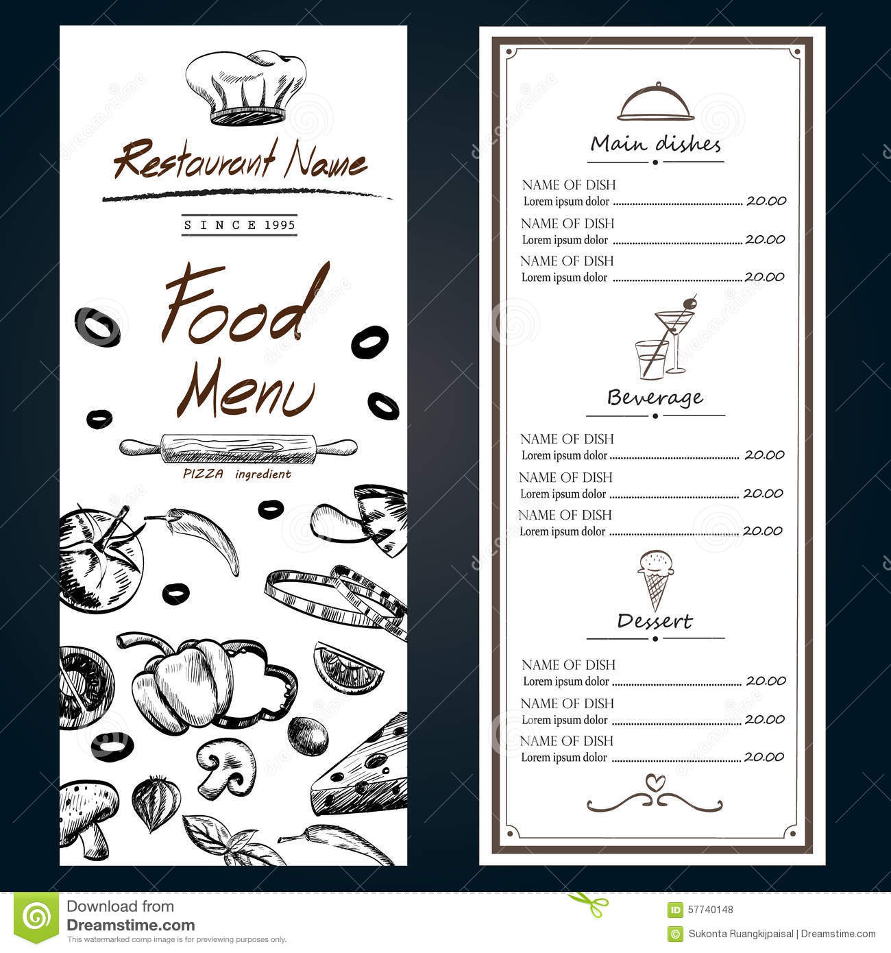 Food Menu Pizza Ingredients Fresh Template Backgroud Cover With