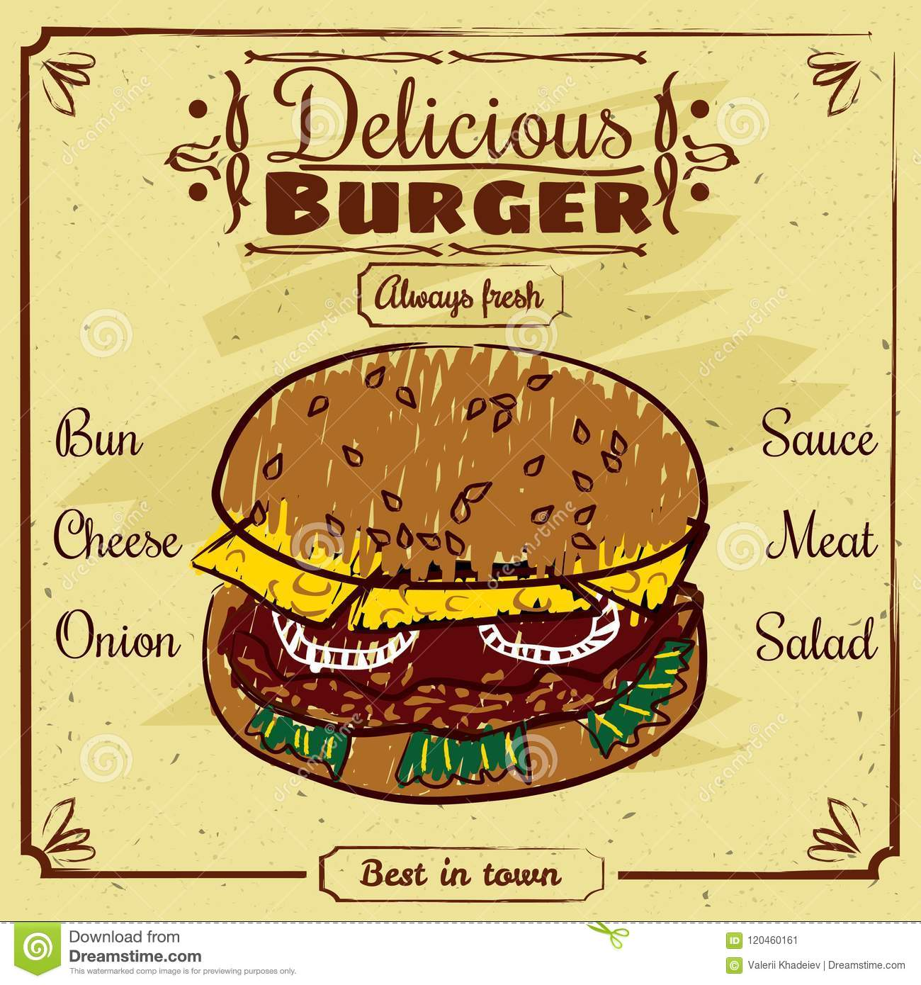 Food Menu For Restaurant And Cafe Design Template With Hand Drawn Graphic Elements In Doodle Style Vector Isolated Stock Vector Illustration Of Frame Dinner 120460161