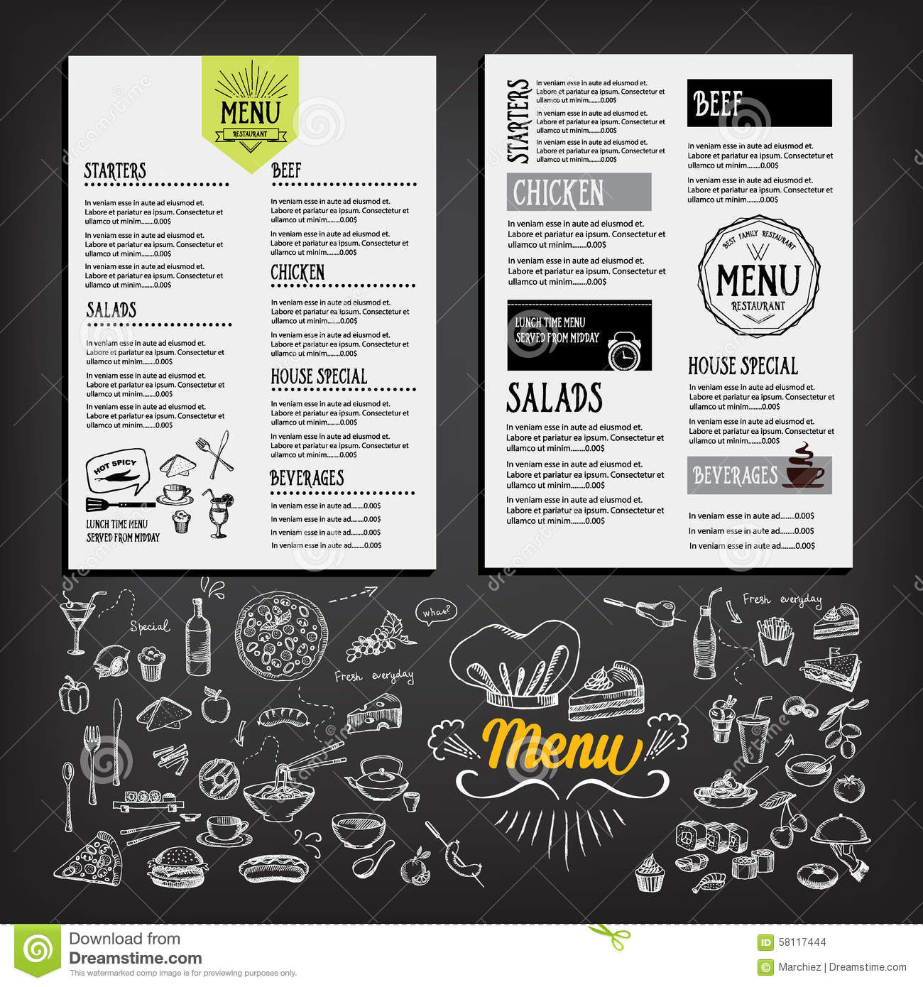 Food menu restaurant template design flyer cafe