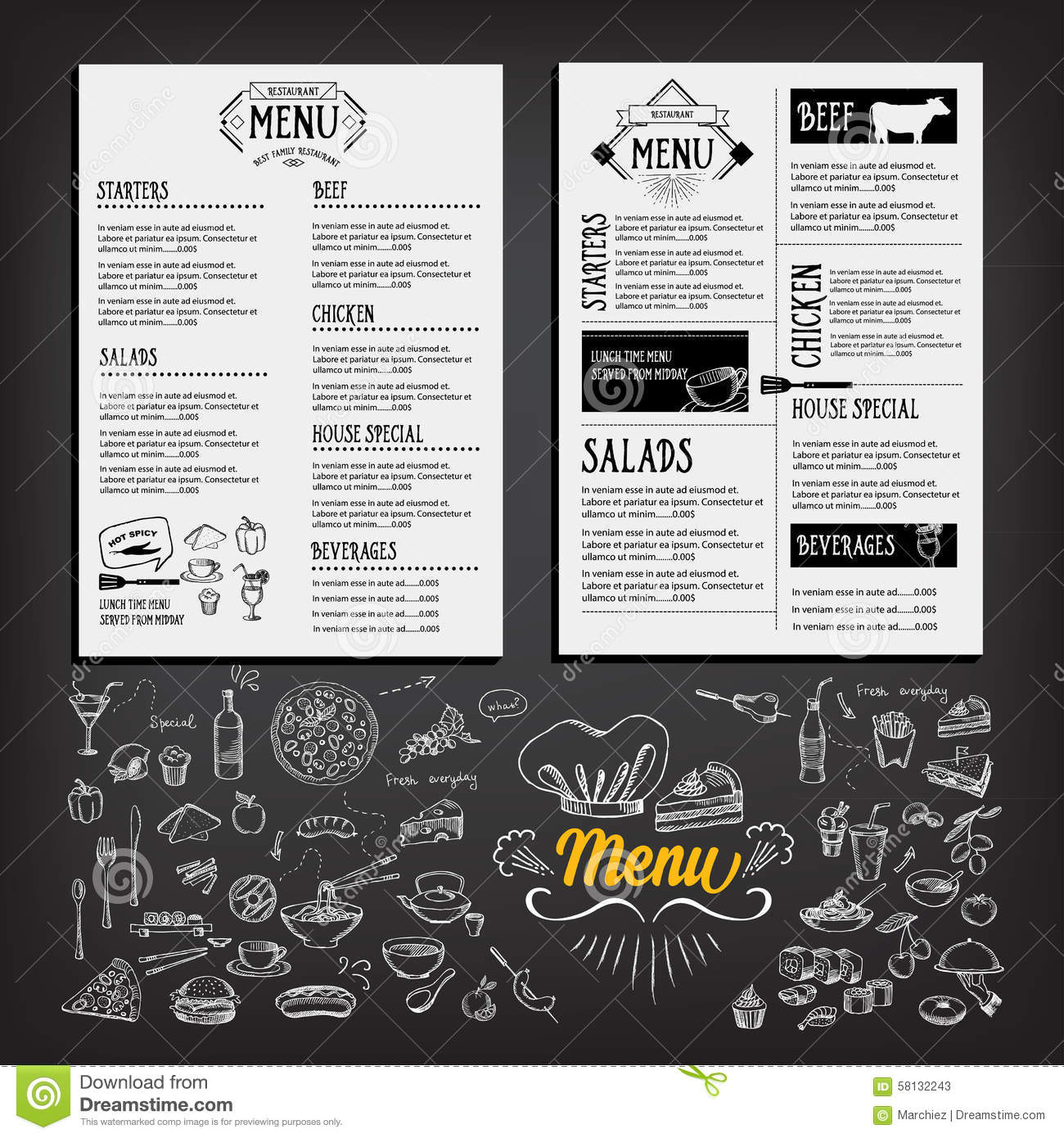 Food menu restaurant template design flyer cafe for Restaurant brochure template