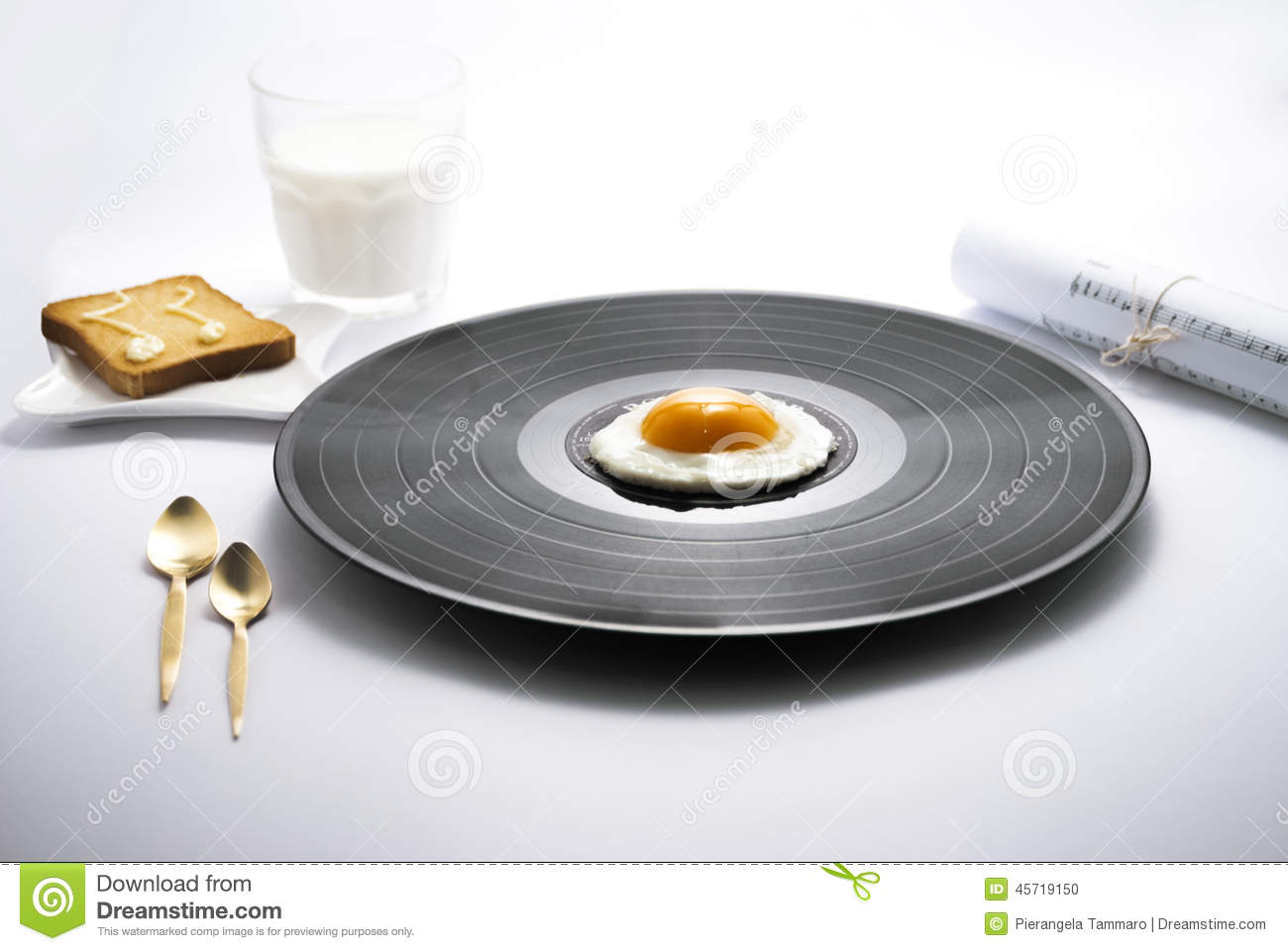 Food Music And Breakfast Vinyl Egg Stock Photo Image