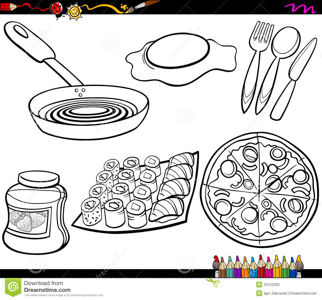 Food objects set coloring page stock vector image 53152283 for Italian food coloring pages