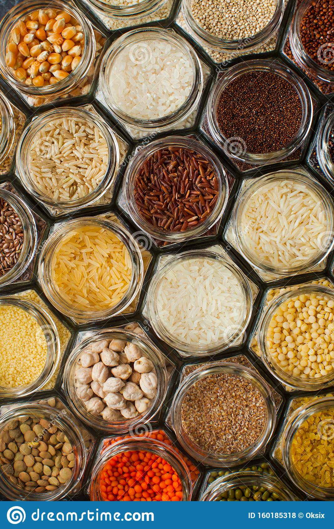 Food Pattern Background - Beans And Cereals In Jars Stock ...